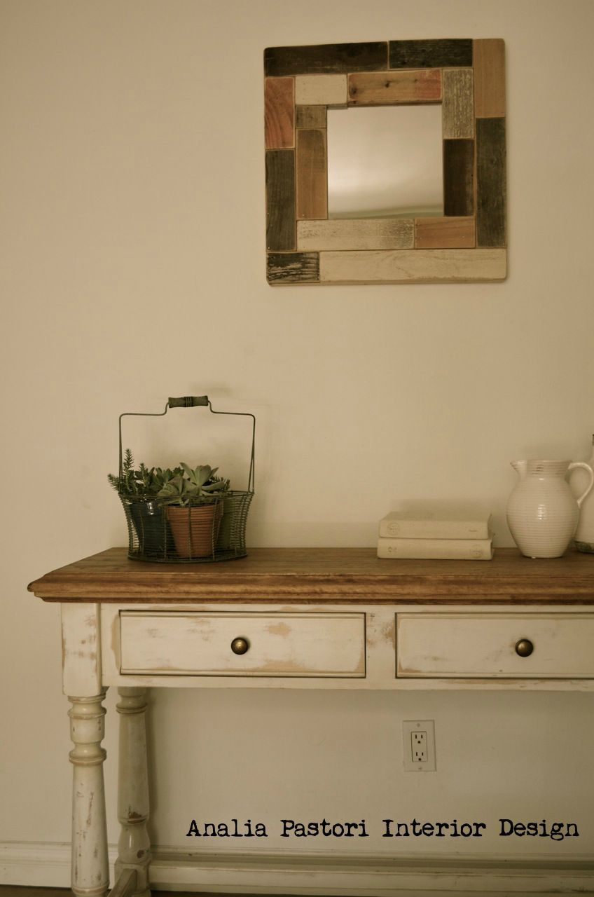 Farmhouse Console Table. Distressed Antique White.analia Pastori for Antique White Distressed Console Tables (Image 8 of 30)