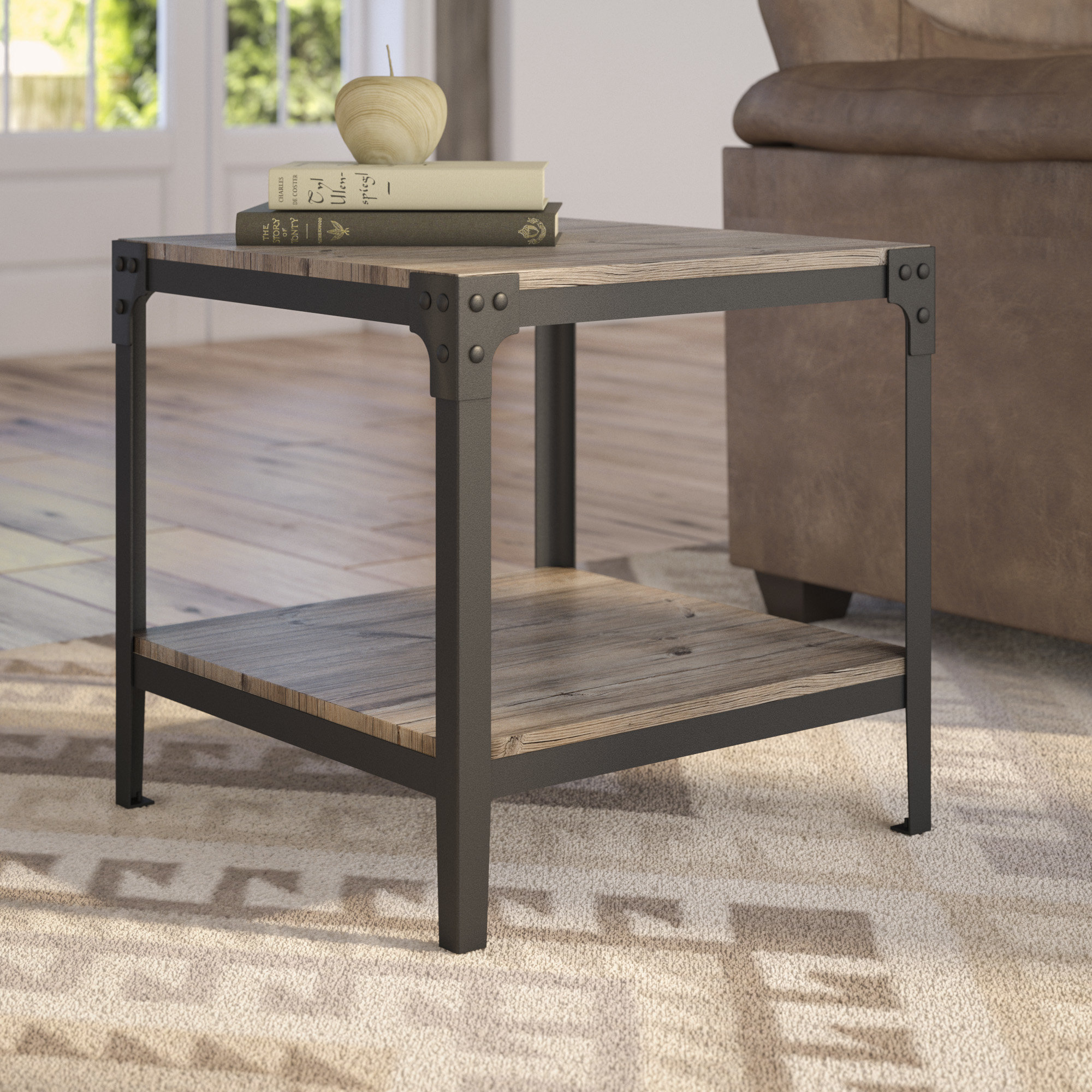 Farmhouse End Tables | Birch Lane pertaining to Mix Leather Imprint Metal Frame Console Tables (Image 6 of 30)