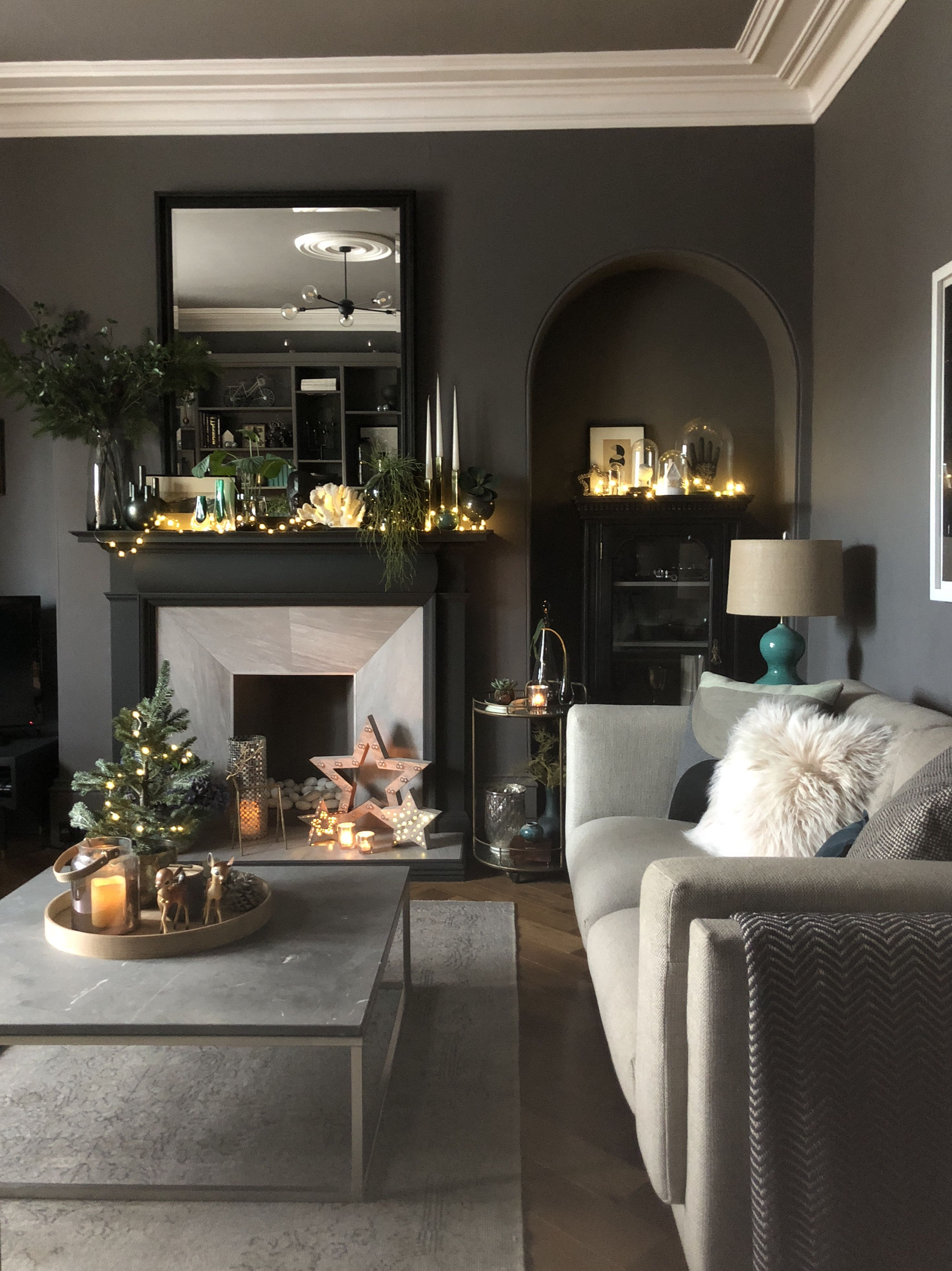 Festive Living Space In Dark Grey. Valspar Whistling Whippoorwill within Scattered Geo Console Tables (Image 10 of 30)