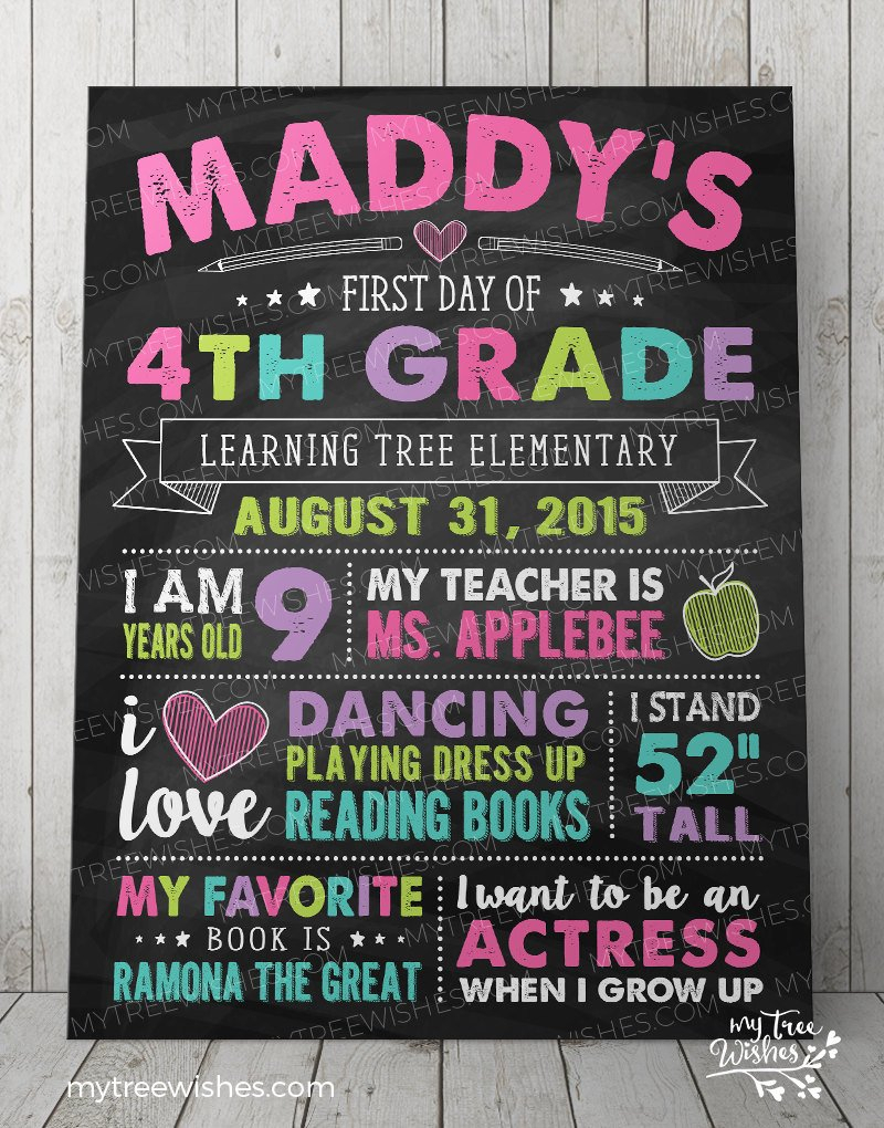 First Day Of School Chalkboard Sign 1St Day Of School Sign | Etsy intended for Maddy 50 Inch Tv Stands (Image 6 of 30)