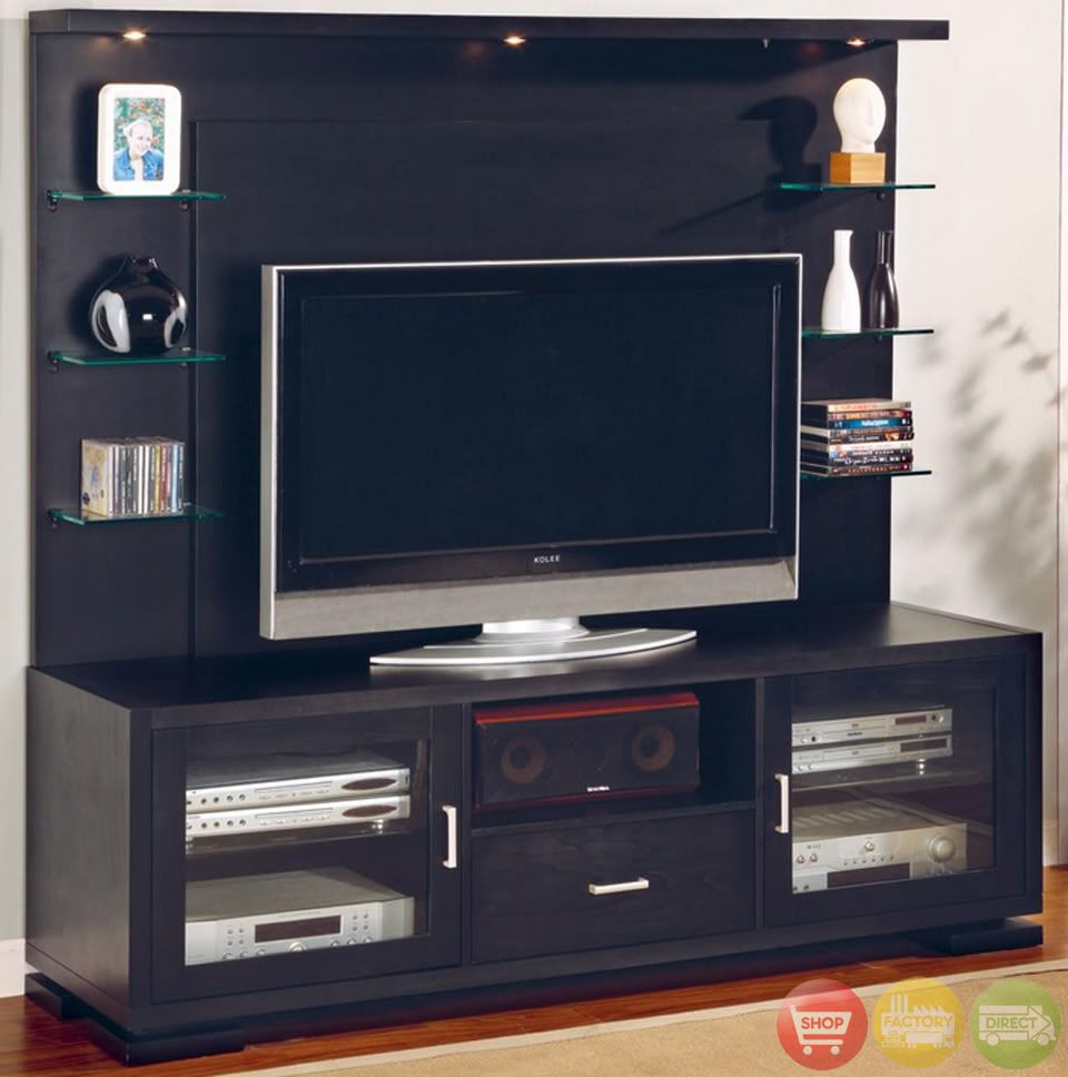 Flat Panel Tv Wall Unit Entertainment Center Black Wood | For The with Abbot 60 Inch Tv Stands (Image 14 of 30)