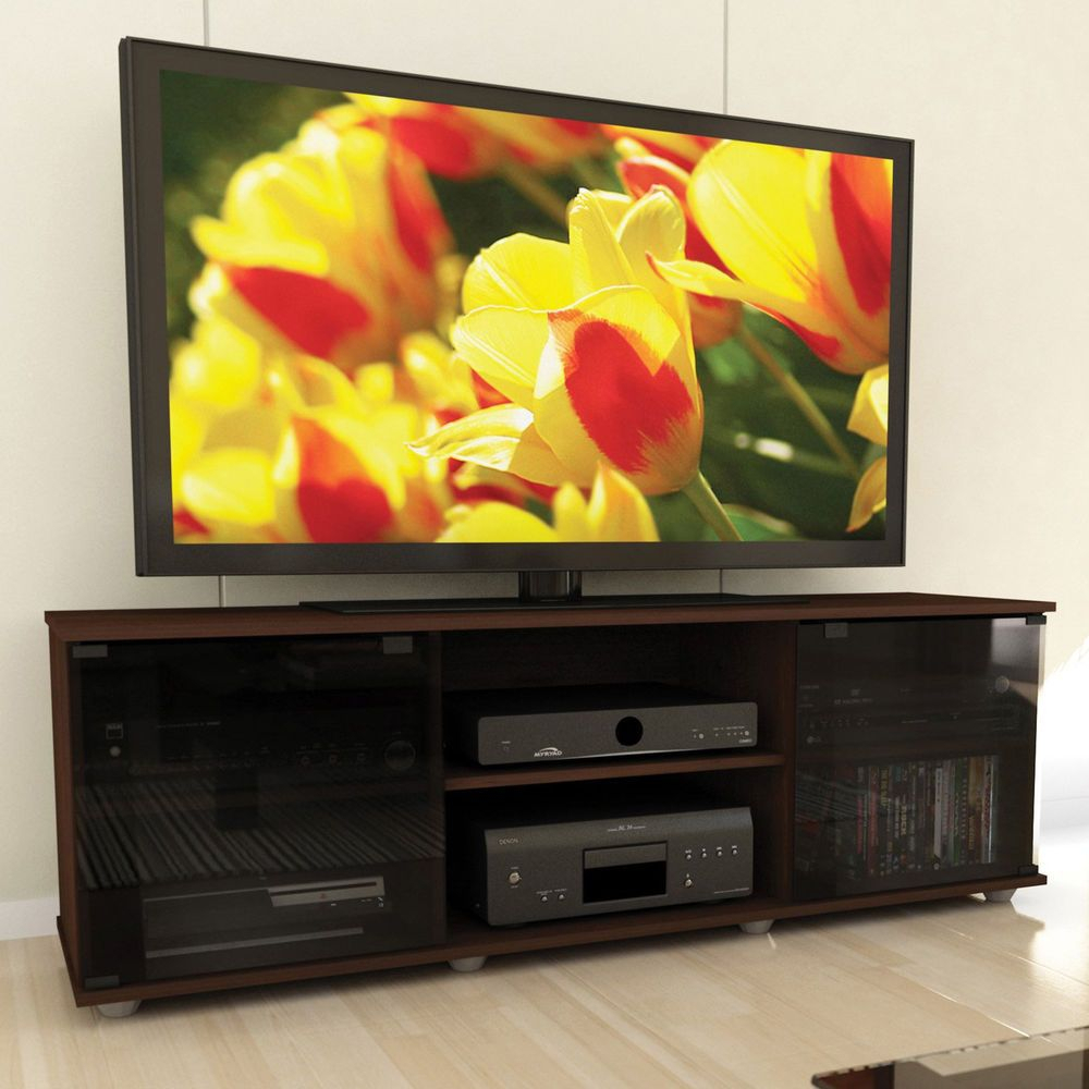 Flat Screen Tv Stand Media Storage Console Cabinet Wood Regarding Edwin Black 64 Inch Tv Stands (View 16 of 30)
