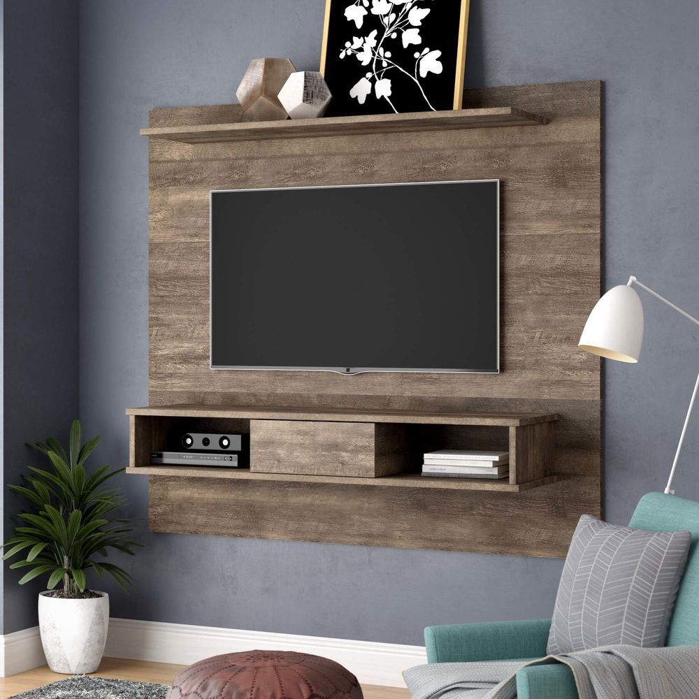 Floating Entertainment Center Rustic Wall Unit Mount Media 70 Inch within Sinclair Grey 54 Inch Tv Stands (Image 10 of 30)