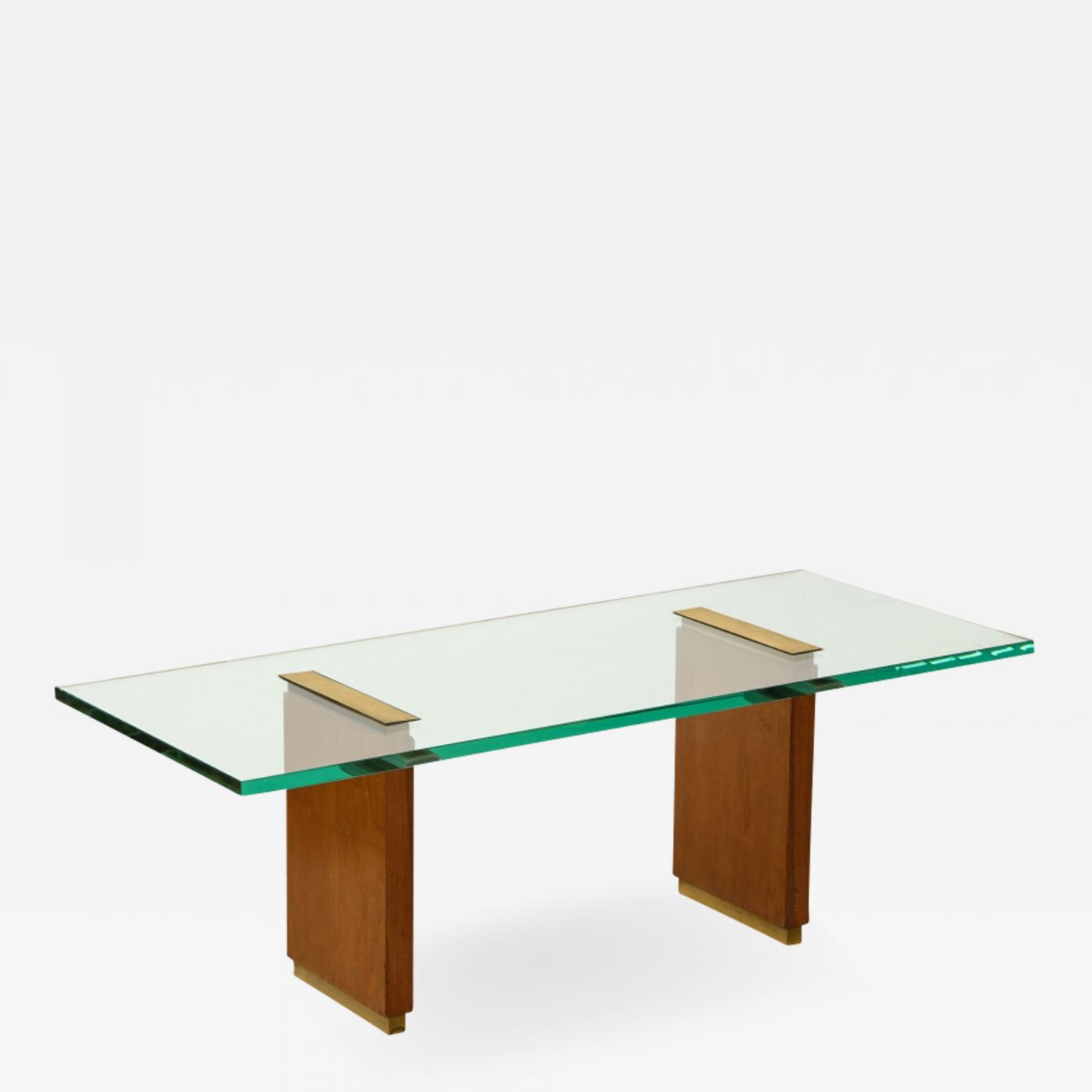 Fontana Arte - Glass Top Low Table With Oak Supports And Brass intended for Oak & Brass Stacking Media Console Tables (Image 12 of 30)