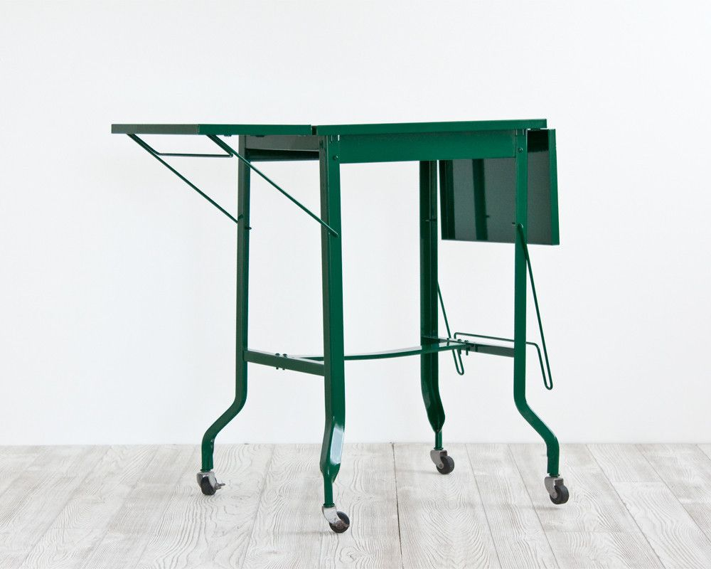 Forest Green Typewriter Table – Why Are These Sold Out? Make More With Regard To Elke Marble Console Tables With Polished Aluminum Base (View 19 of 30)