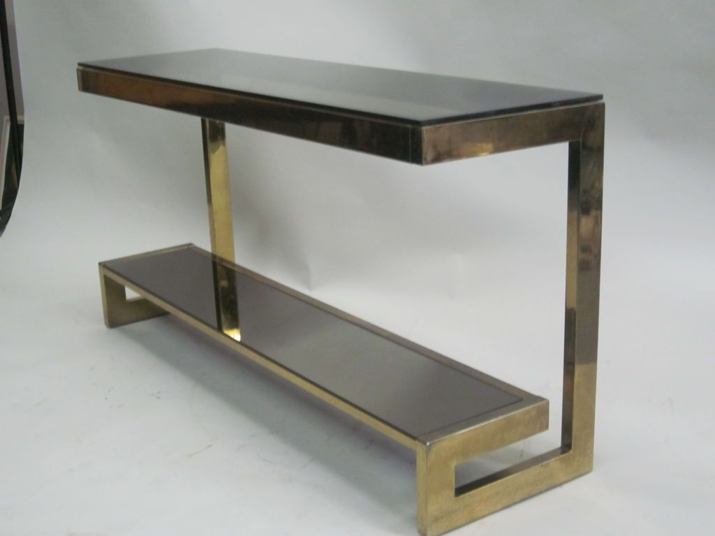 French Mid-Century Modern Double Level Brass Console / Sofa Table throughout Phillip Brass Console Tables (Image 9 of 30)