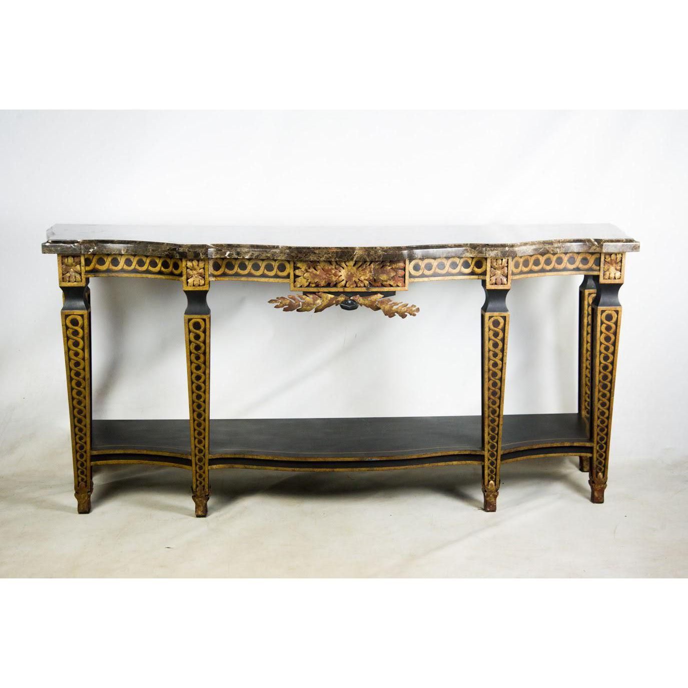 French Style Granite Top Console Table | Console Table | Console Regarding Roman Metal Top Console Tables (View 2 of 30)