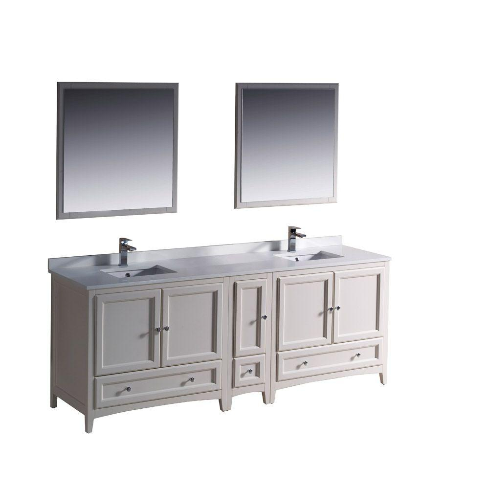 Fresca Oxford 84 In. Double Vanity In Antique White With Ceramic pertaining to Oxford 84 Inch Tv Stands (Image 16 of 30)