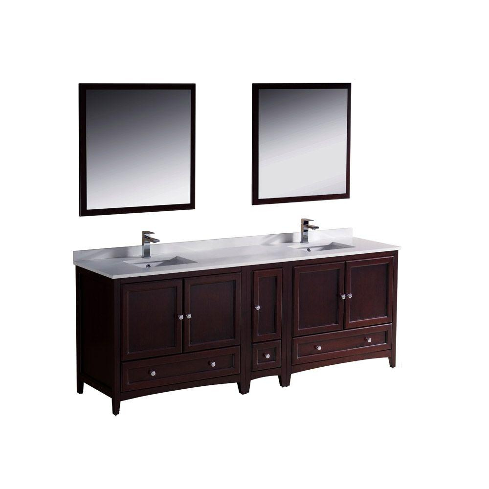 Fresca Oxford 84 In. Double Vanity In Mahogany With Ceramic Vanity pertaining to Oxford 84 Inch Tv Stands (Image 17 of 30)