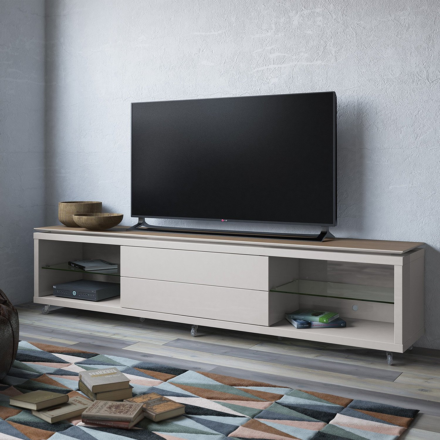 Furniture: Annabelle Black 70 Inch Tv Stand | Living Spaces Pertaining To Annabelle Cream 70 Inch Tv Stands (View 3 of 30)