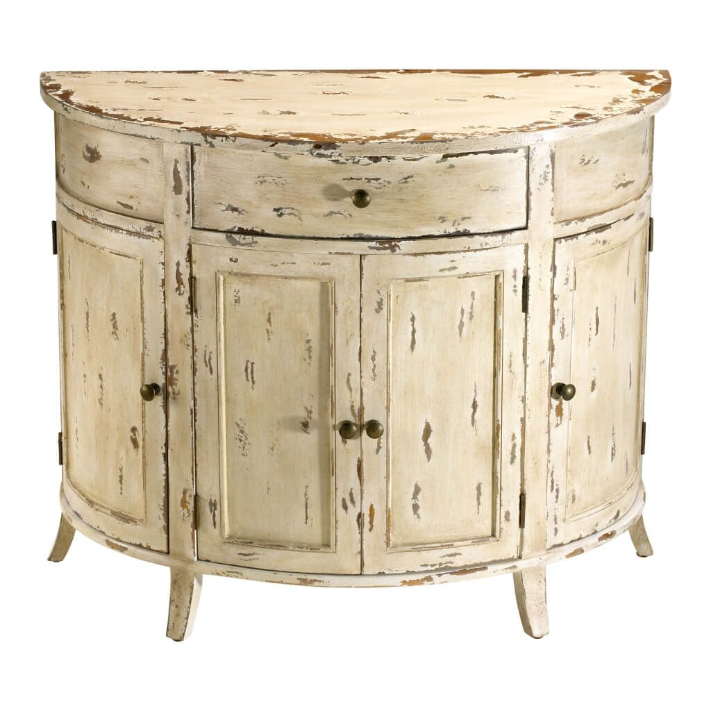 Furniture: Appealing Distressed White Half Moon Console Table With pertaining to Antique White Distressed Console Tables (Image 10 of 30)