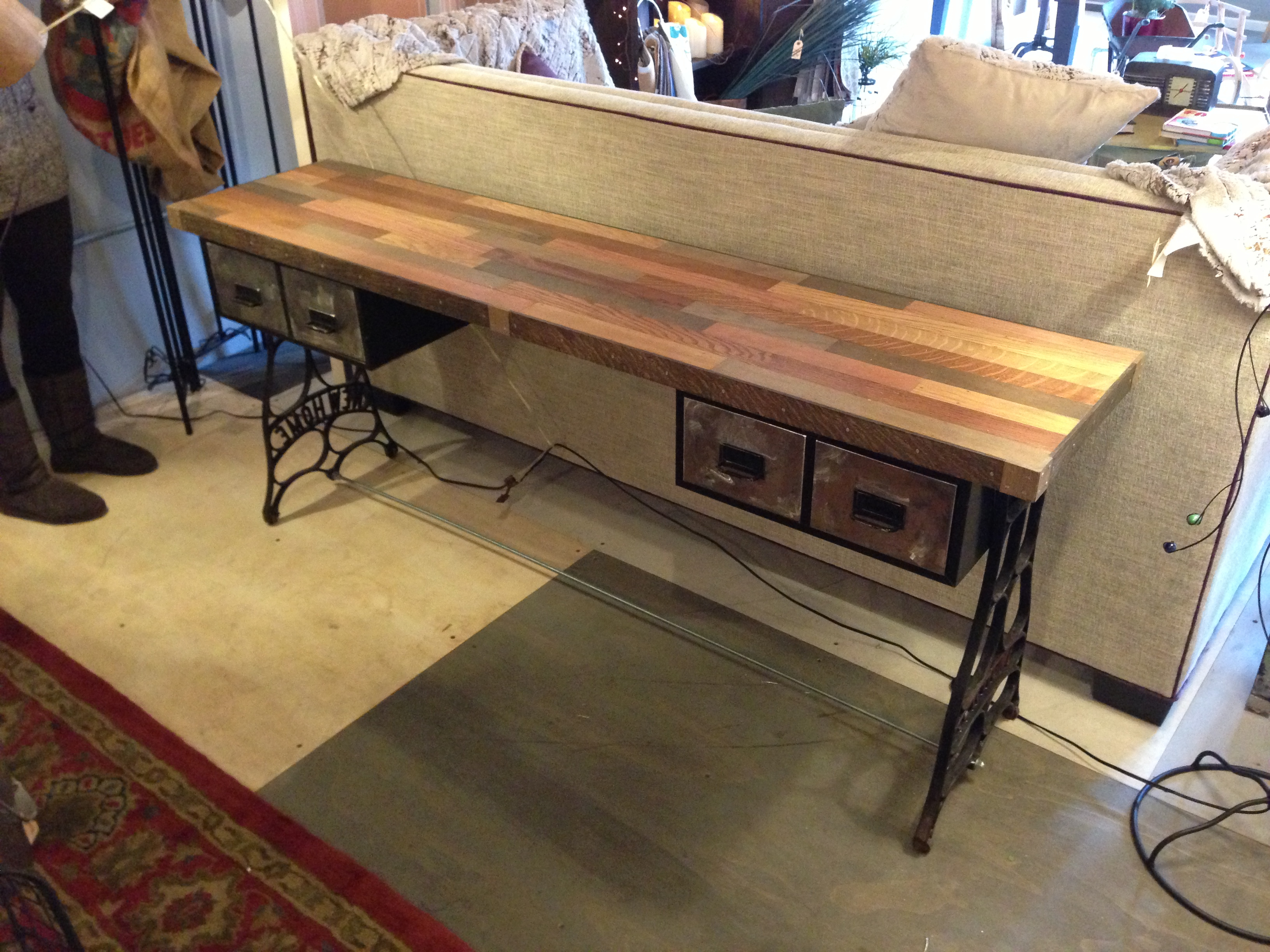 Furniture: Beautiful Handmade Reclaimed Wood Sofa Table for Oak & Brass Stacking Media Console Tables (Image 14 of 30)