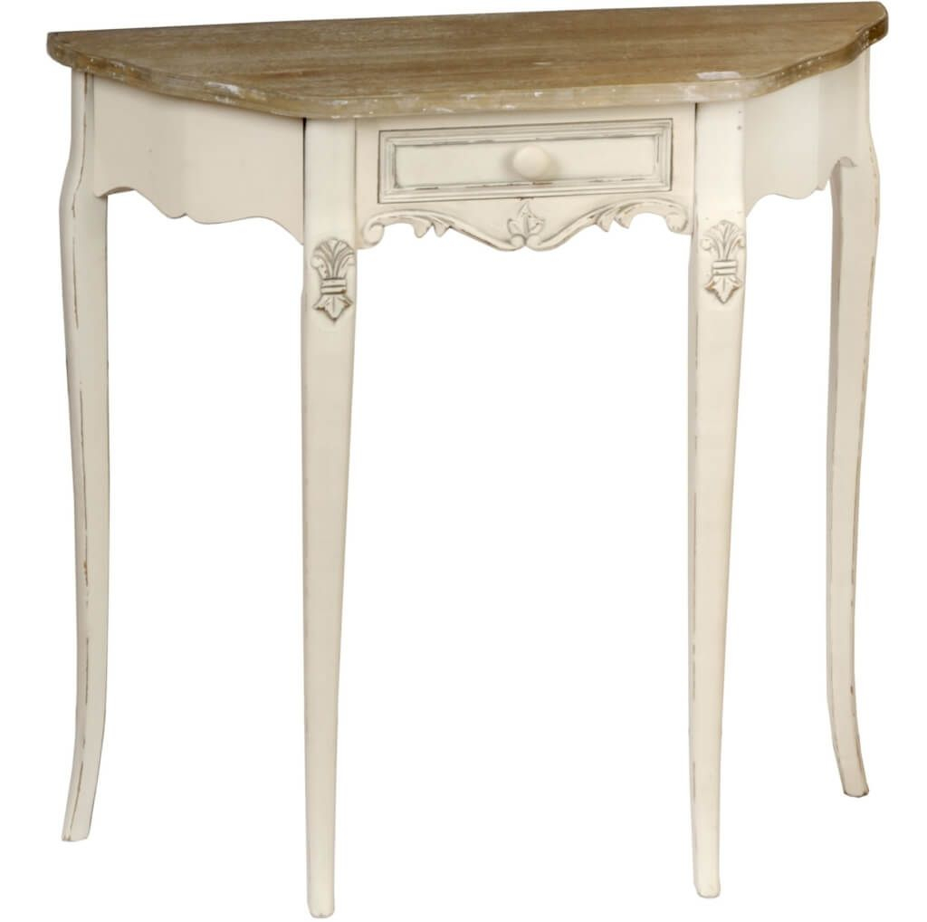 Furniture: Brilliant French Country Half Moon Console Table Design for Antique White Distressed Console Tables (Image 11 of 30)