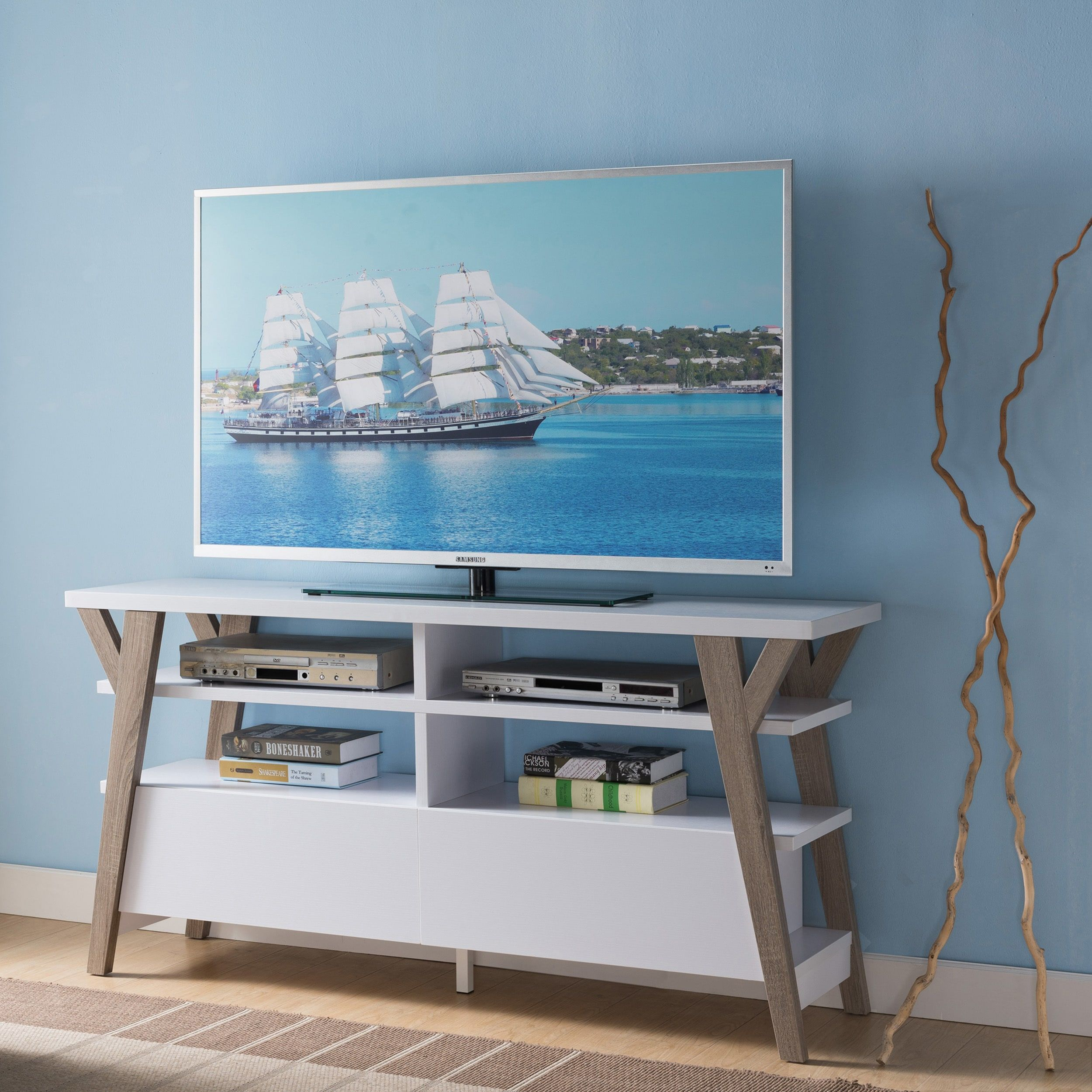 Furniture Of America Celeste White/ Light Oak Two Tone 60 Inch Inside Century White 60 Inch Tv Stands (View 9 of 30)