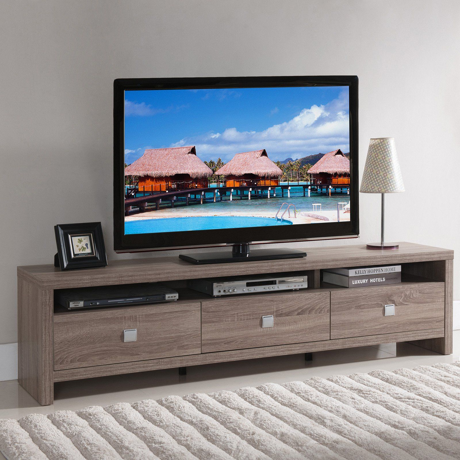 Furniture Of America Contemporary Tv Stand | From Hayneedle pertaining to Annabelle Cream 70 Inch Tv Stands (Image 13 of 30)