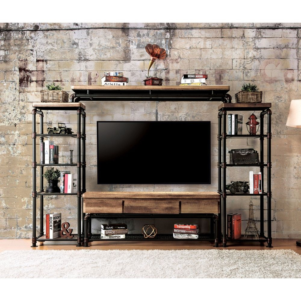 Furniture Of America Herman Industrial Black Shelf Pier Cabinet 1 Regarding Forma 65 Inch Tv Stands (View 11 of 30)