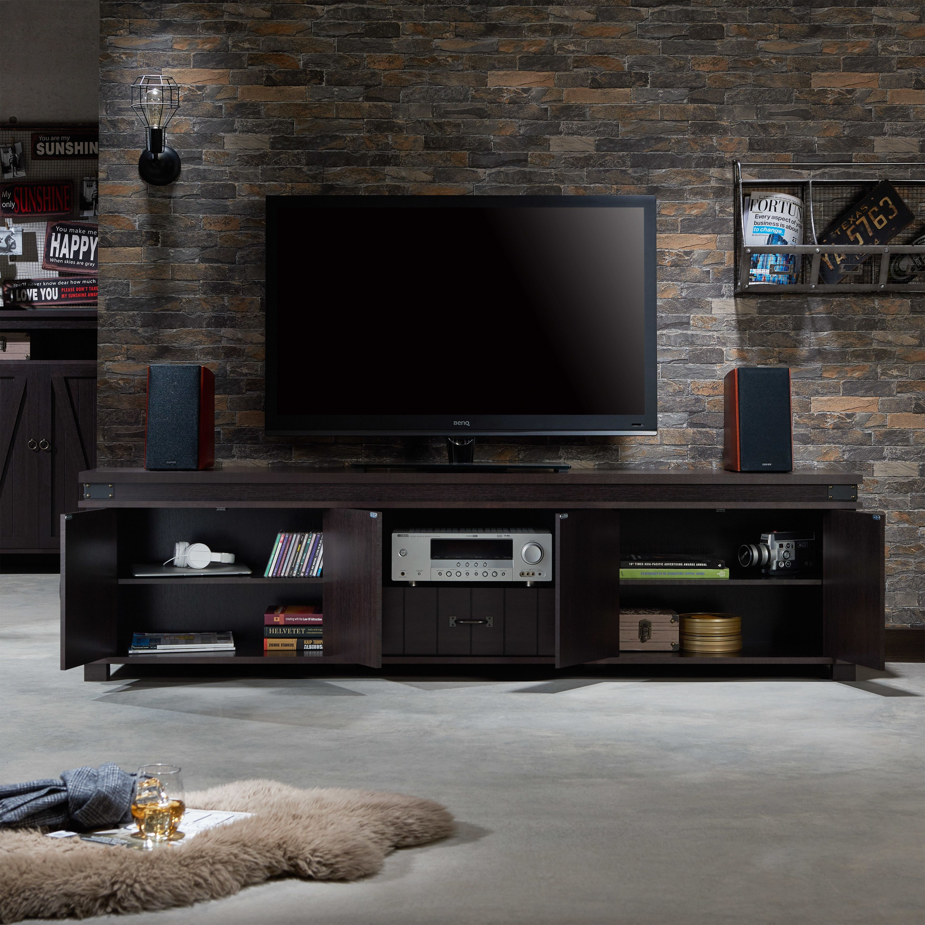 Furniture Of America Teglar Espresso Finish Wood 82 Inch Tv Stand Intended For Willa 80 Inch Tv Stands (View 10 of 30)