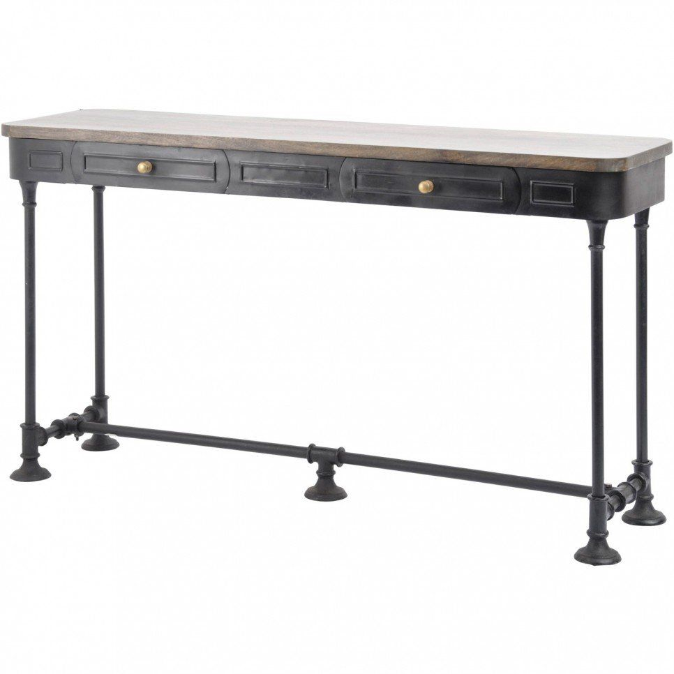 Furniture, Old And Vintage Long Narrow Console Table With Drawer And with regard to Mix Patina Metal Frame Console Tables (Image 6 of 30)