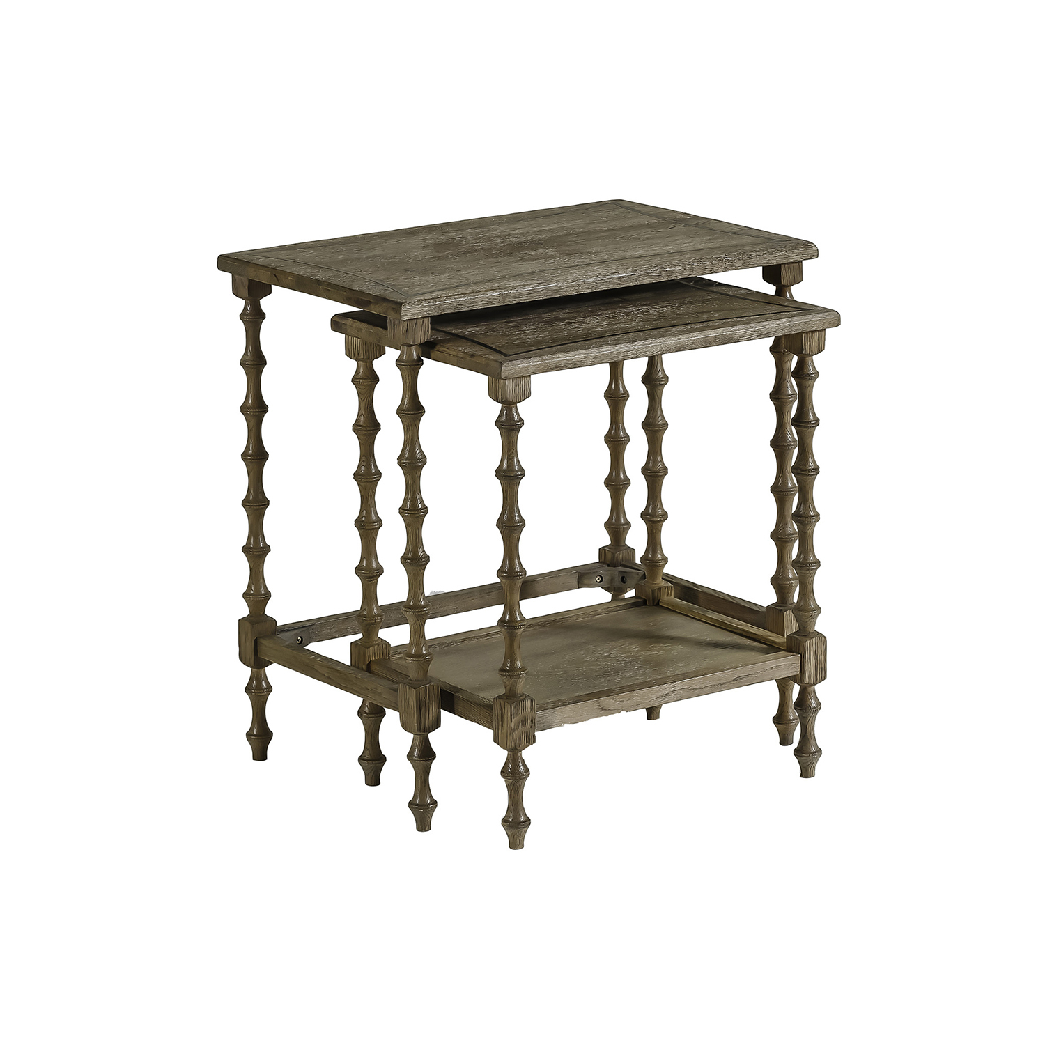 Gabby Home Lionel Natural Oak And Antique Brass Metal Nesting Tables for Oak & Brass Stacking Media Console Tables (Image 15 of 30)