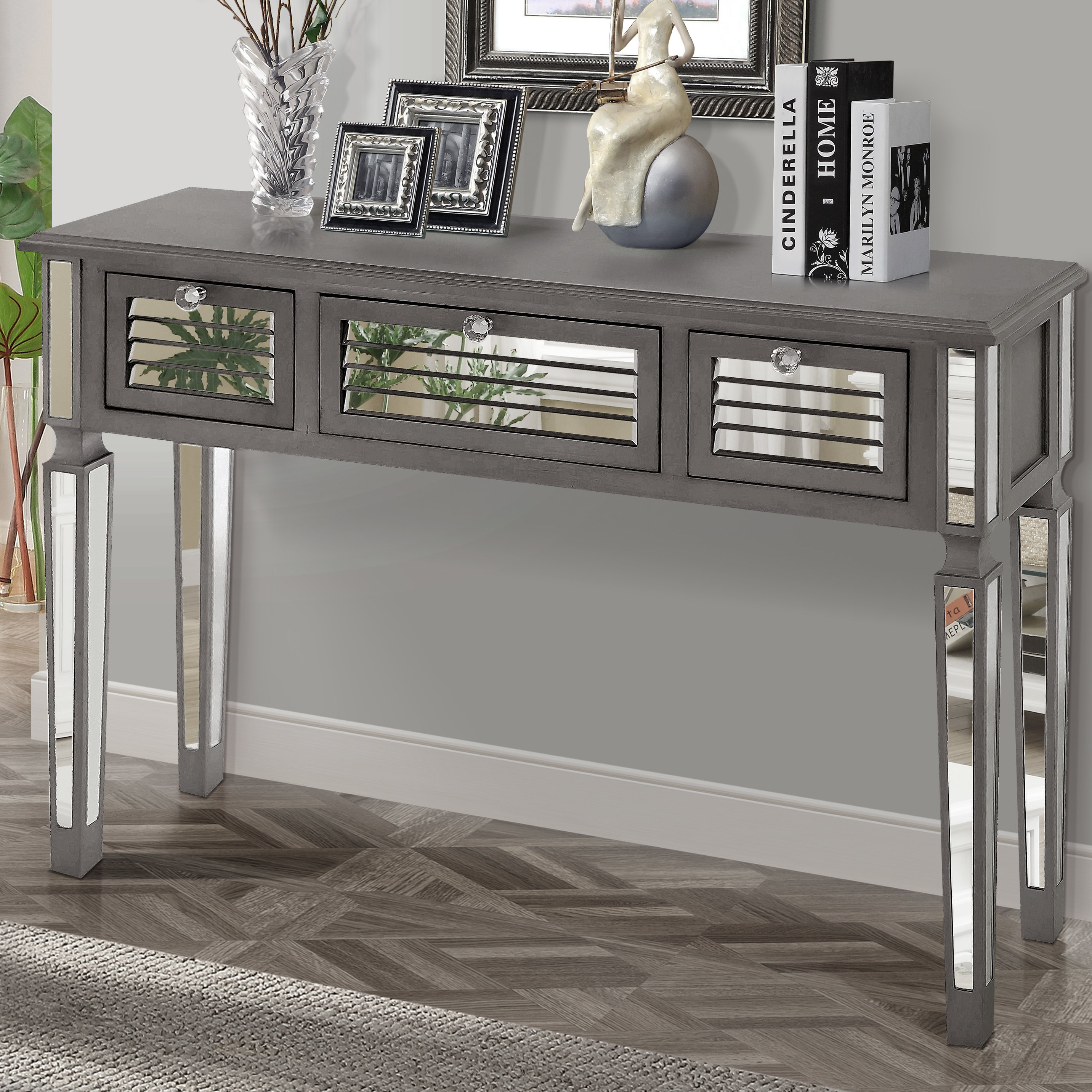Gallerie Decor Summit Mirrored Console Table & Reviews | Wayfair for Natural Wood Mirrored Media Console Tables (Image 13 of 30)