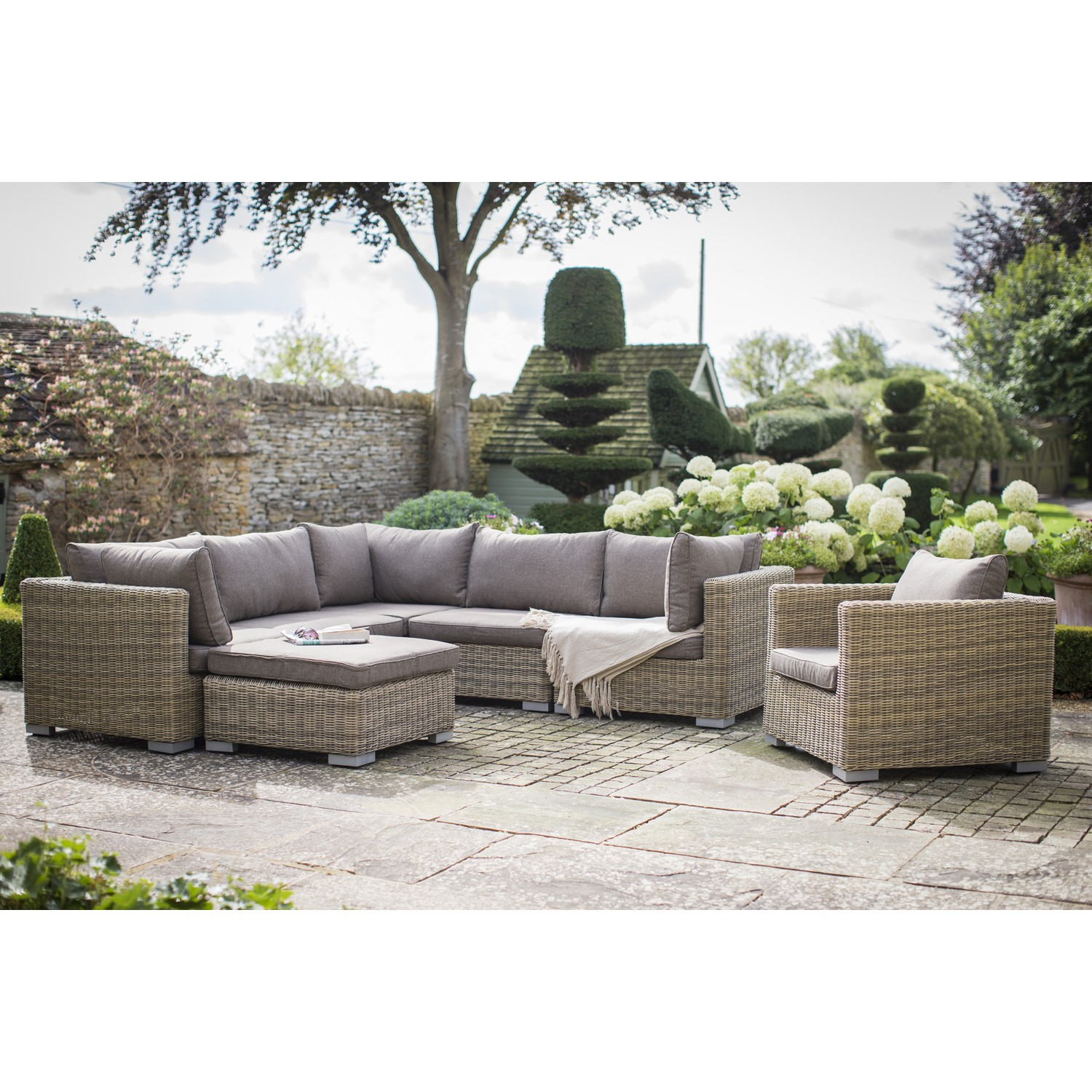 Garden Trading Marden Outdoor Corner Sofa Set, Natural Rattan throughout Natural Cane Media Console Tables (Image 12 of 30)