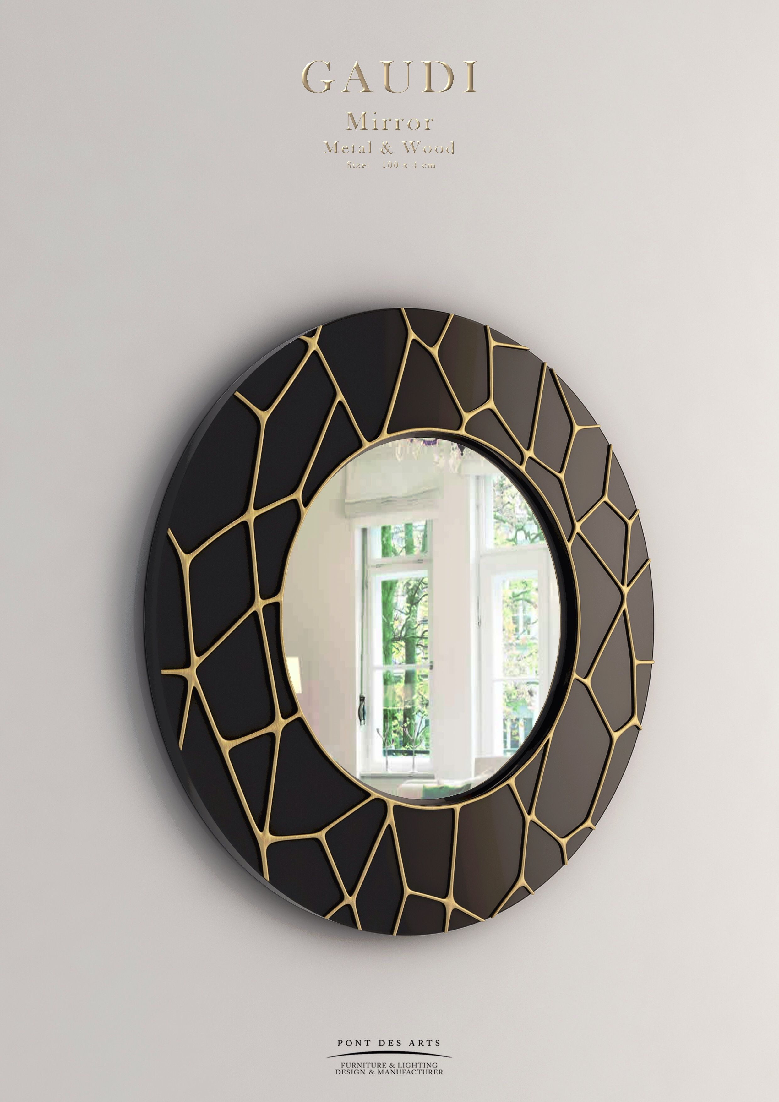 Gaudi Mirror – Wood And Bronze – Pont Des Arts – Monzer Hammoud With Regard To Jaxon 76 Inch Plasma Console Tables (Image 5 of 30)