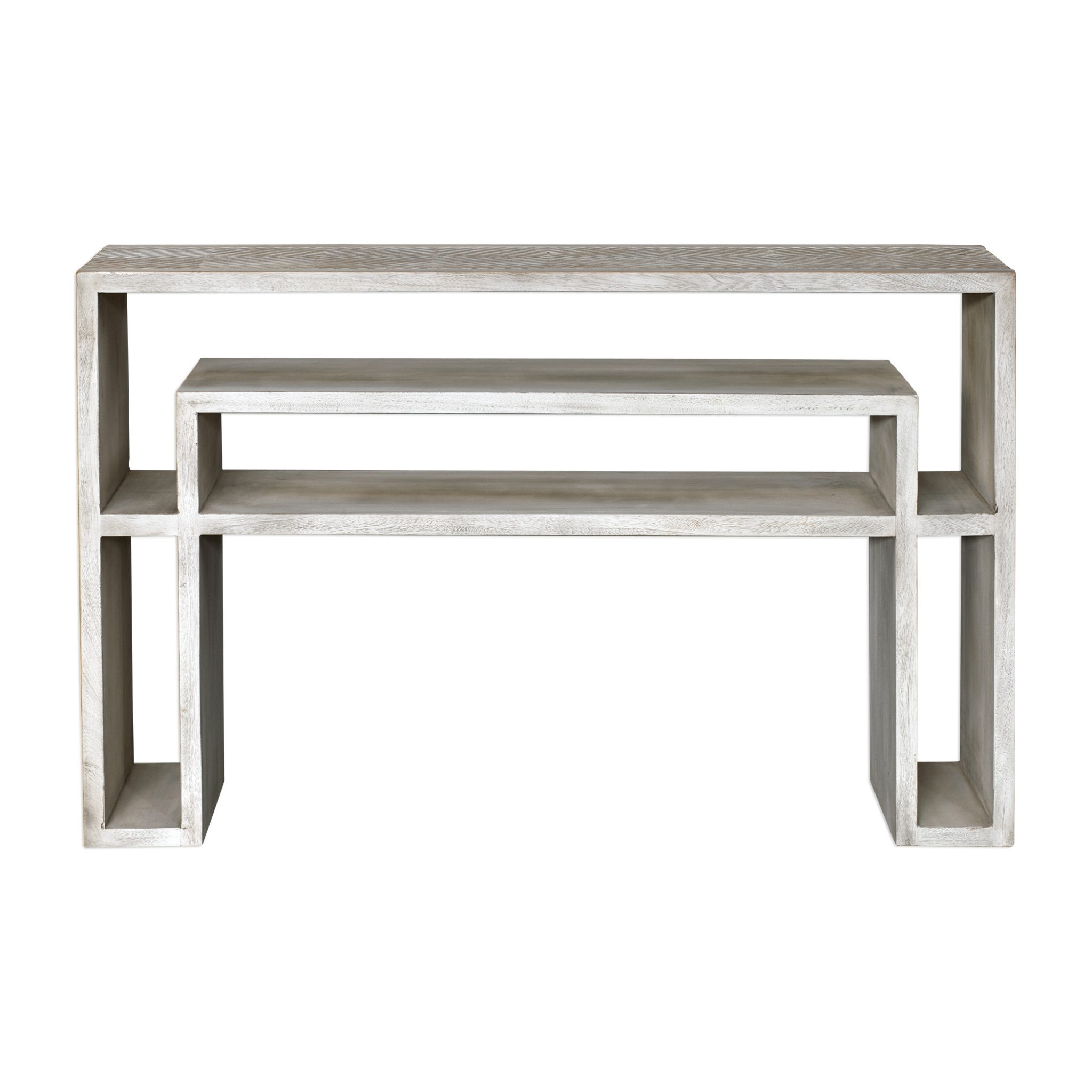 Genara Bone White Carved Console Table Pertaining To Hand Carved White Wash Console Tables (View 15 of 30)
