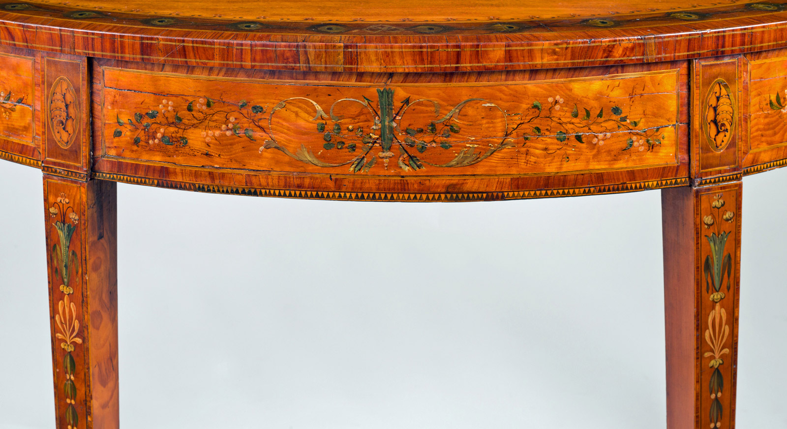 George Iii Inlaid Satinwood D Shaped Console Table Regarding Orange Inlay Console Tables (View 14 of 30)