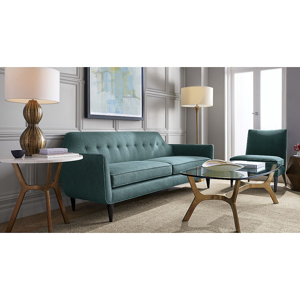 Gia Button Tufted Sofa | // My Apt Wishlist // | Living Room, Sofa Pertaining To Elke Glass Console Tables With Polished Aluminum Base (View 12 of 30)