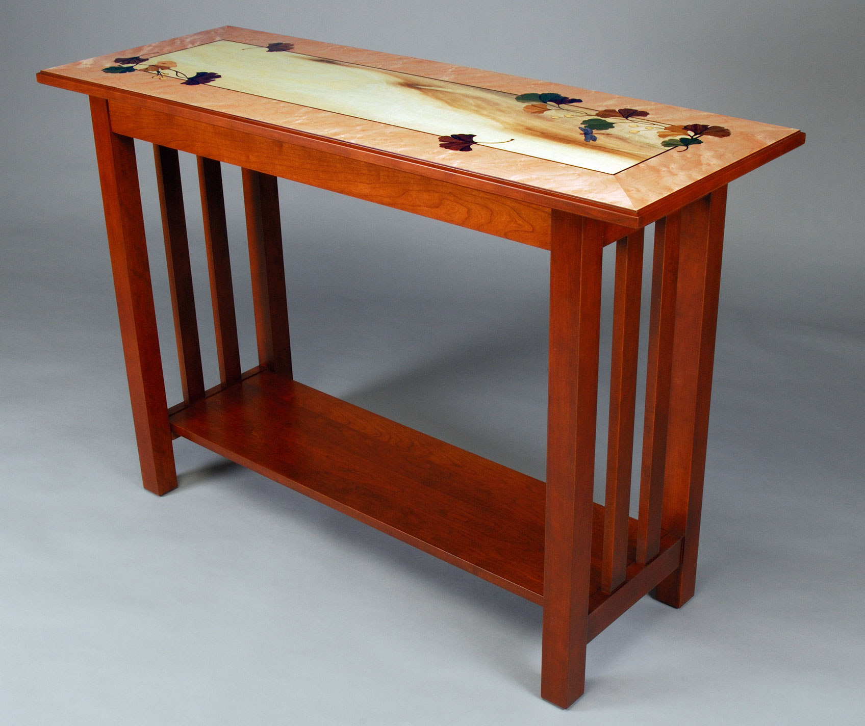 Ginkgo Leaves Console Table 131 Piece Inlay With 12 Wood regarding Intarsia Console Tables (Image 10 of 30)