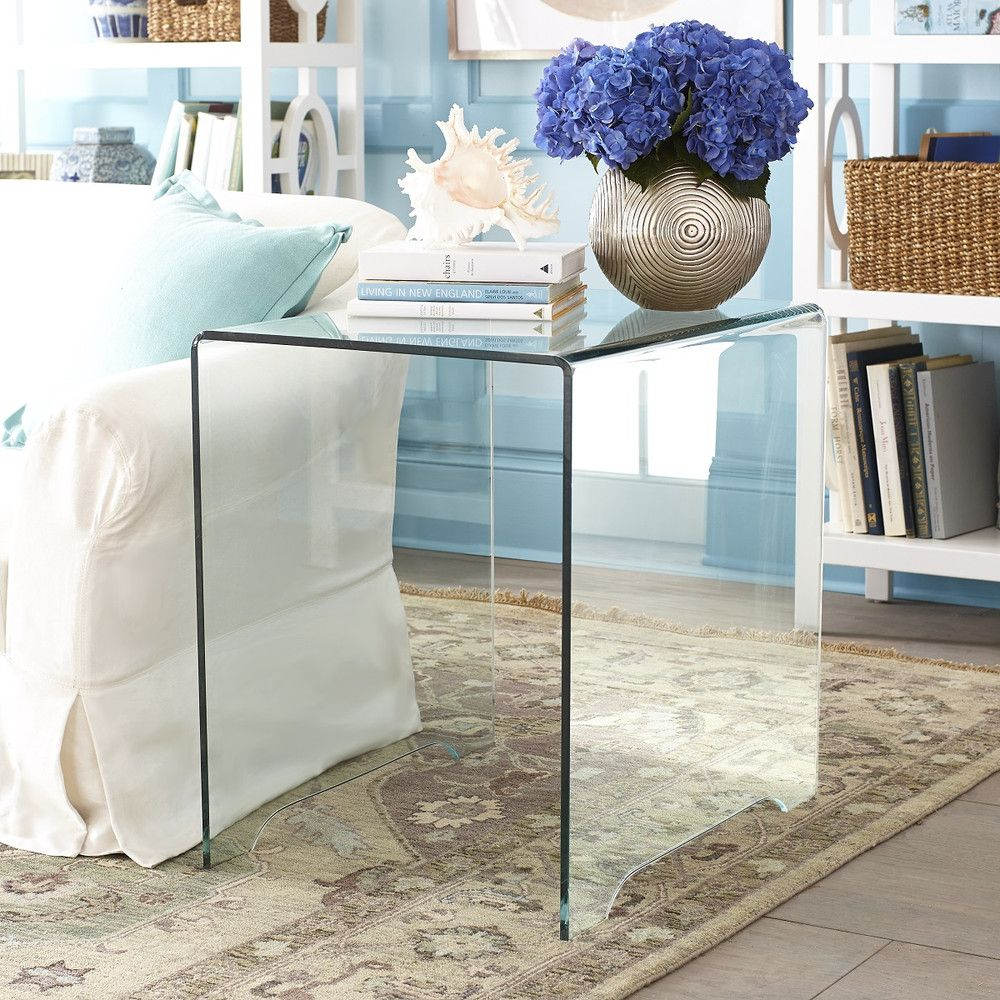 Glass Side Table | Glass Side Tables, Glass And Living Rooms Pertaining To Elke Glass Console Tables With Polished Aluminum Base (View 7 of 30)