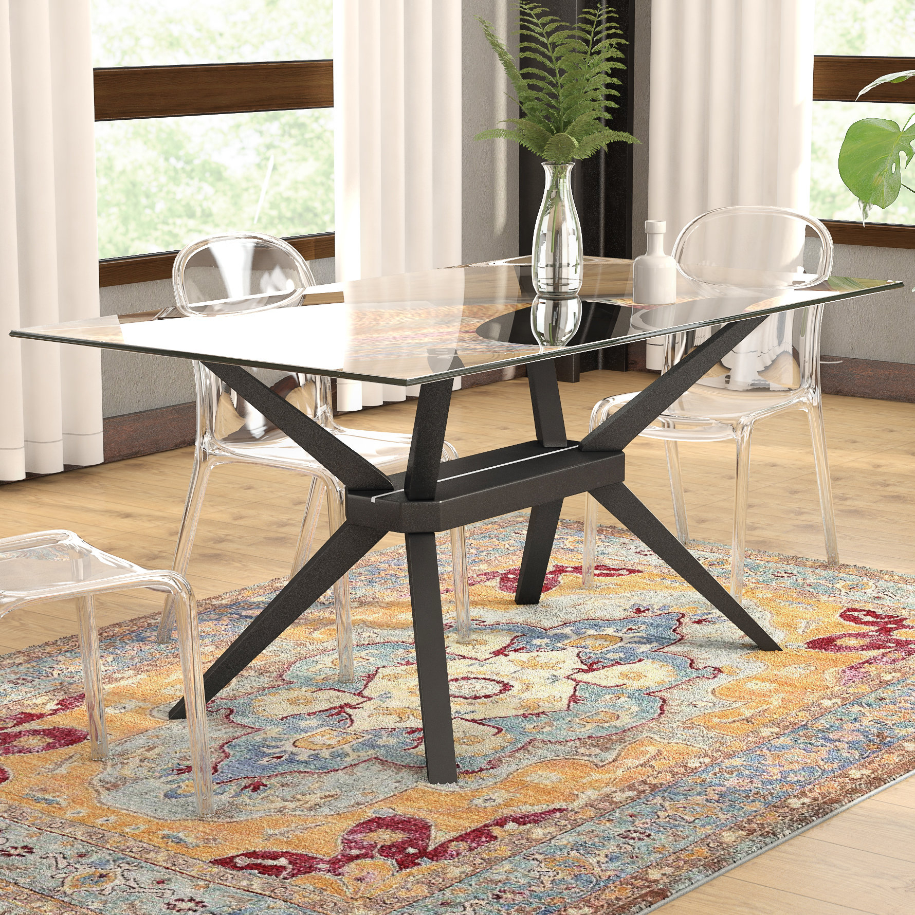 Glass Table Base Only | Wayfair intended for Mix Leather Imprint Metal Frame Console Tables (Image 7 of 30)
