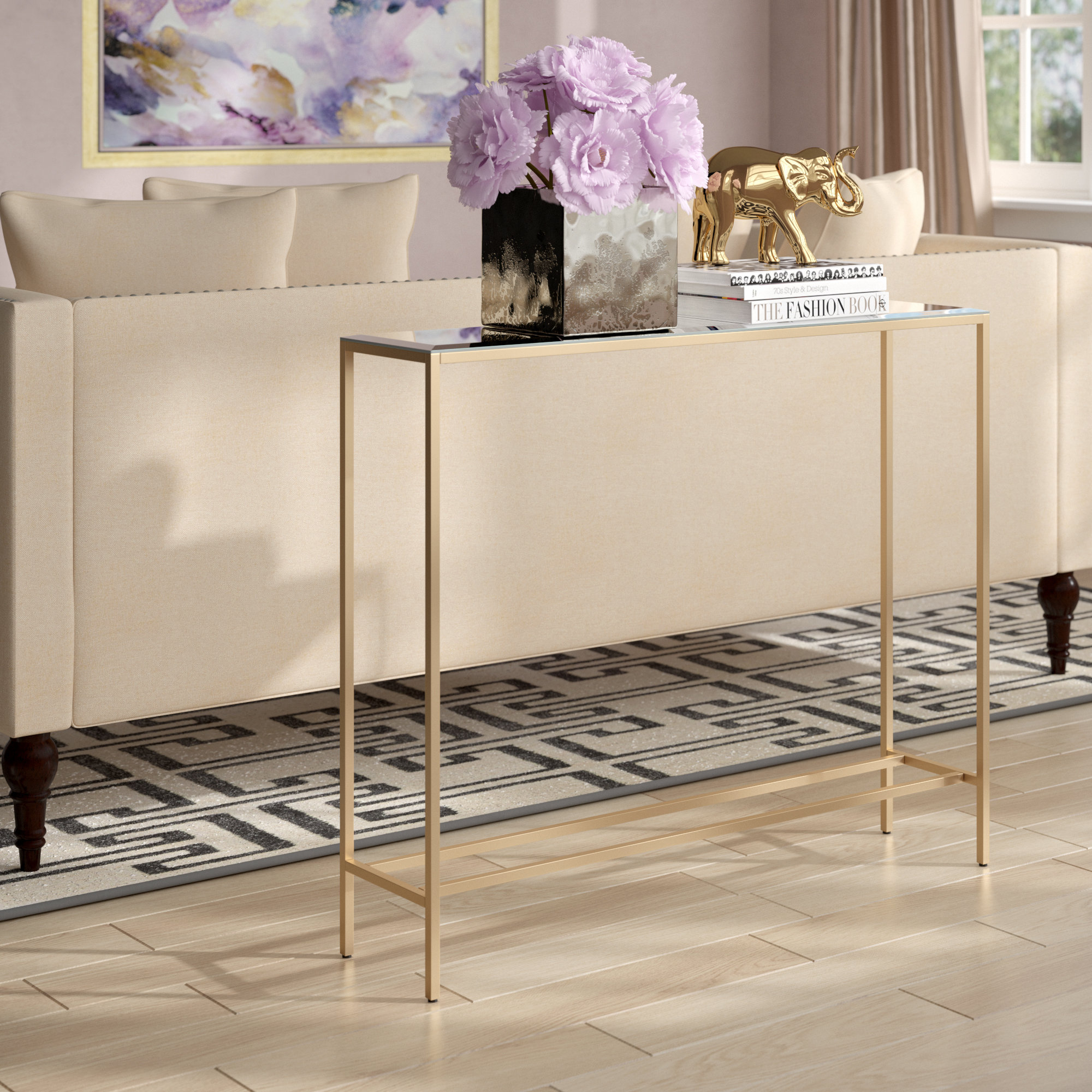 Gold Console Tables You'll Love | Wayfair in Mix Patina Metal Frame Console Tables (Image 7 of 30)