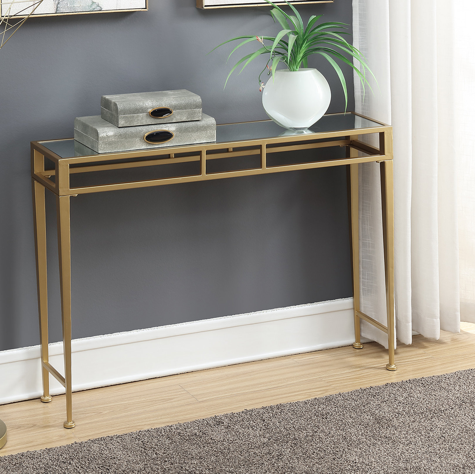 Gold Console Tables You'll Love | Wayfair pertaining to Natural Wood Mirrored Media Console Tables (Image 14 of 30)