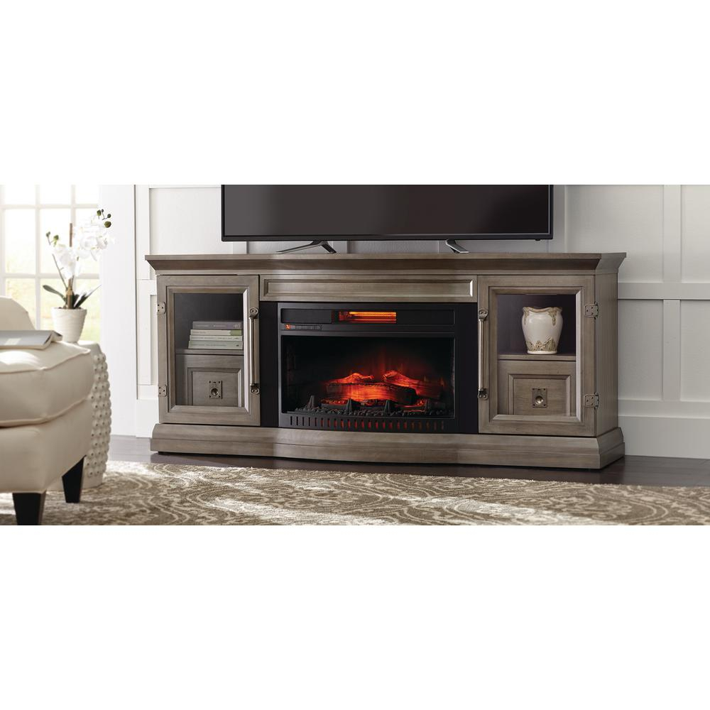 Gray – Electric Fireplaces – Fireplaces – The Home Depot Inside Kenzie 72 Inch Open Display Tv Stands (View 21 of 30)