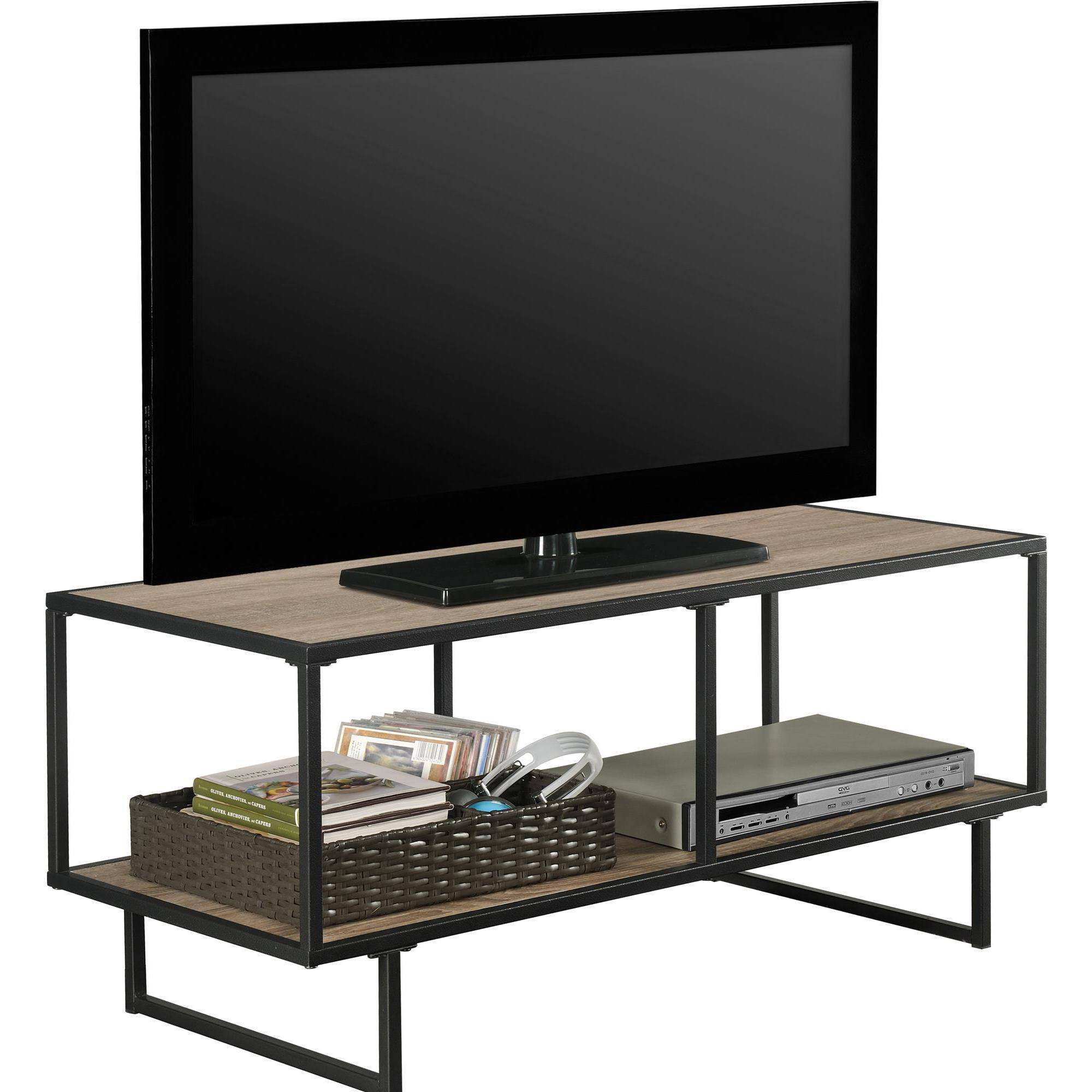 Gray Tv Cabinets Wood Stand We Furniture 58 Storage Console Charcoal Pertaining To Gunmetal Media Console Tables (View 6 of 30)