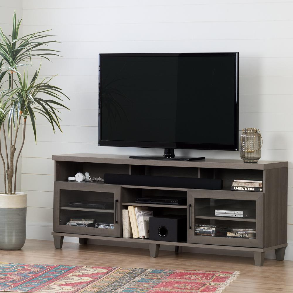 Gray – Tv Stands – Living Room Furniture – The Home Depot With Regard To Kenzie 72 Inch Open Display Tv Stands (View 10 of 30)