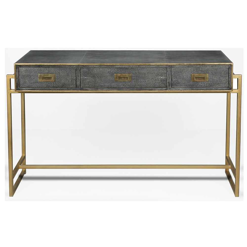 Grey Leather Shagreen Desk Throughout Grey Shagreen Media Console Tables (View 5 of 30)