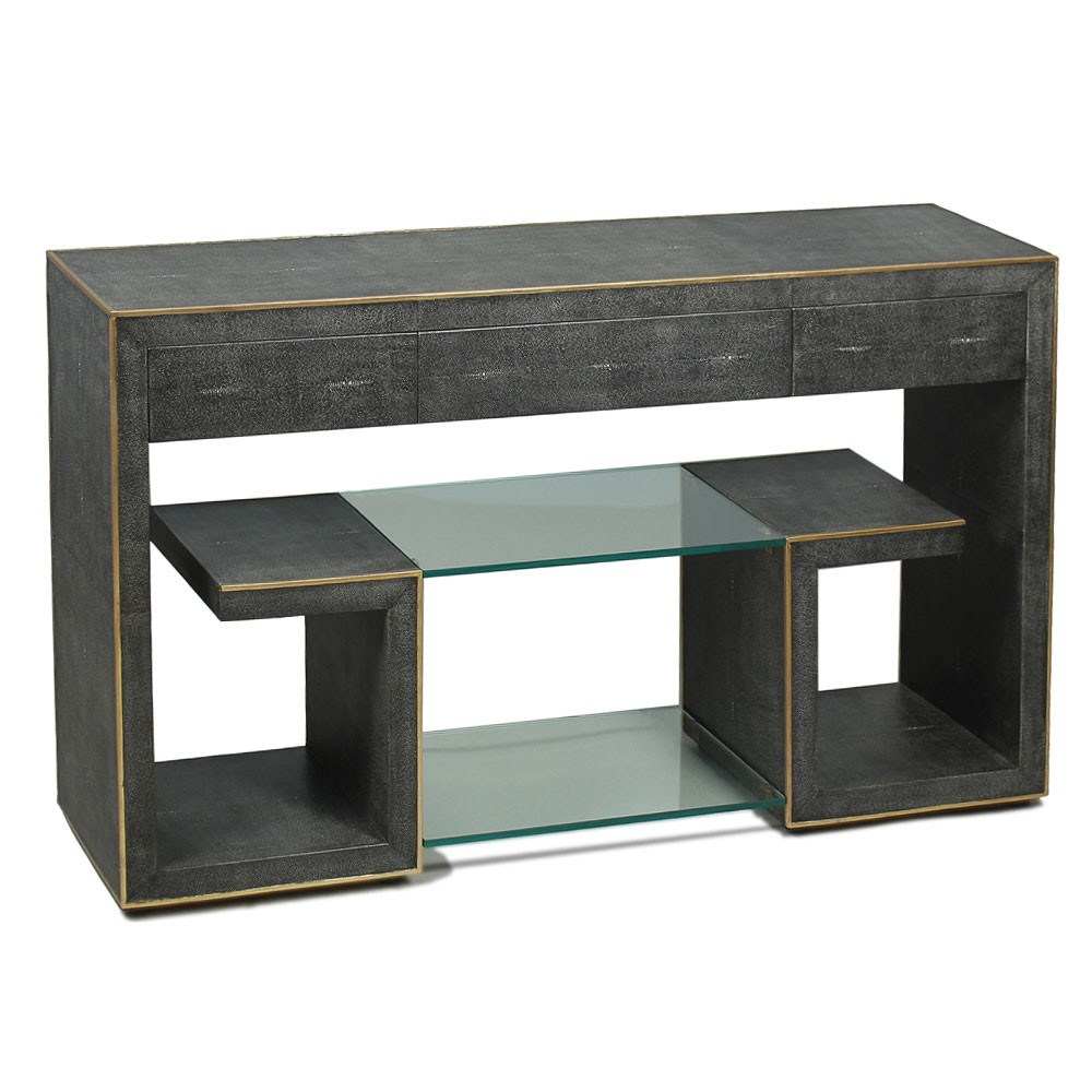 Grey Shagreen Greek Key Console Pertaining To Grey Shagreen Media Console Tables (View 8 of 30)