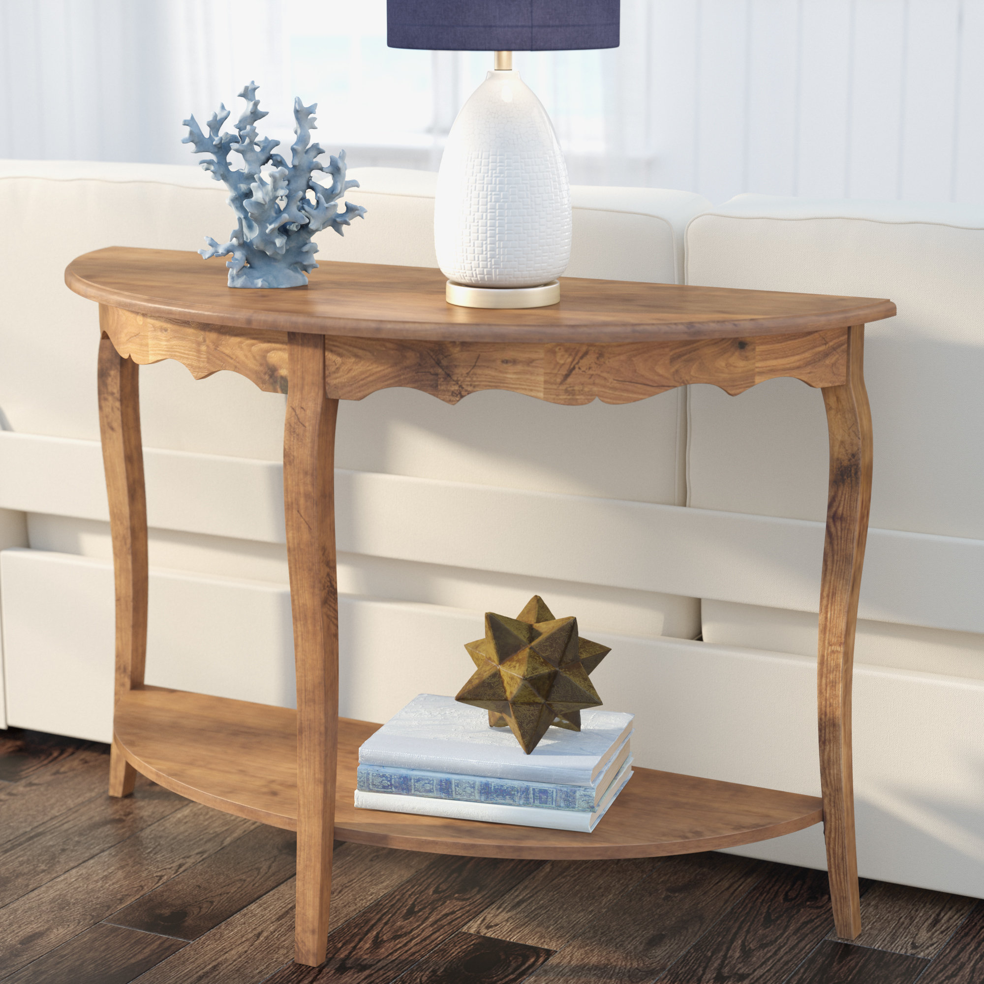 Half Circle Console Tables You'll Love | Wayfair Inside Layered Wood Small Square Console Tables (View 4 of 30)