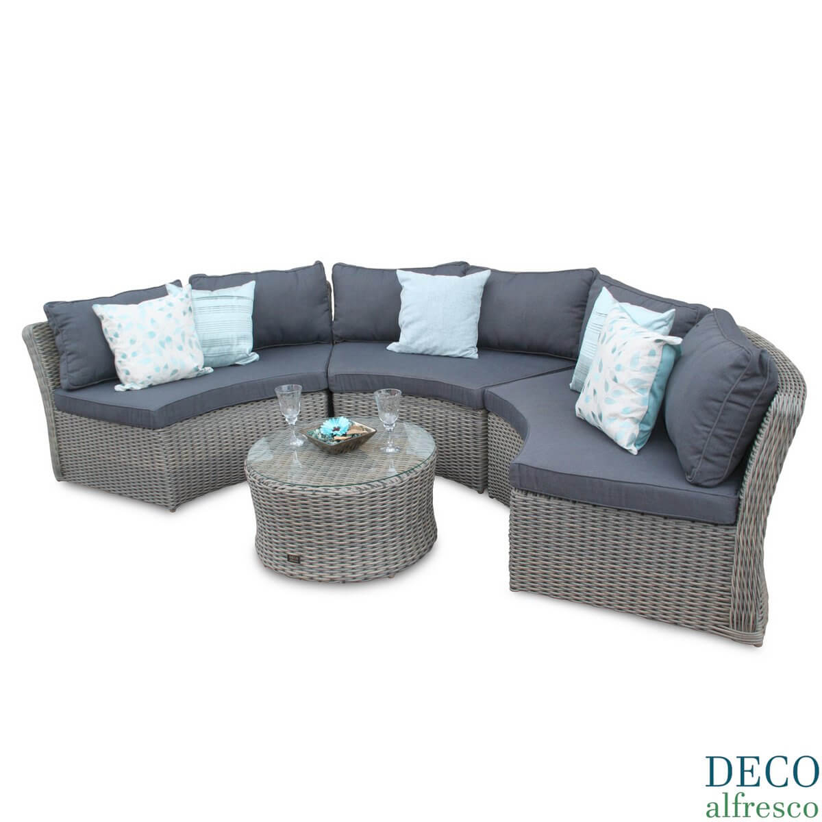 Half Moon Rattan Outdoor Furniture Sofa Set - Natural Deco Alfresco with regard to Natural Cane Media Console Tables (Image 13 of 30)