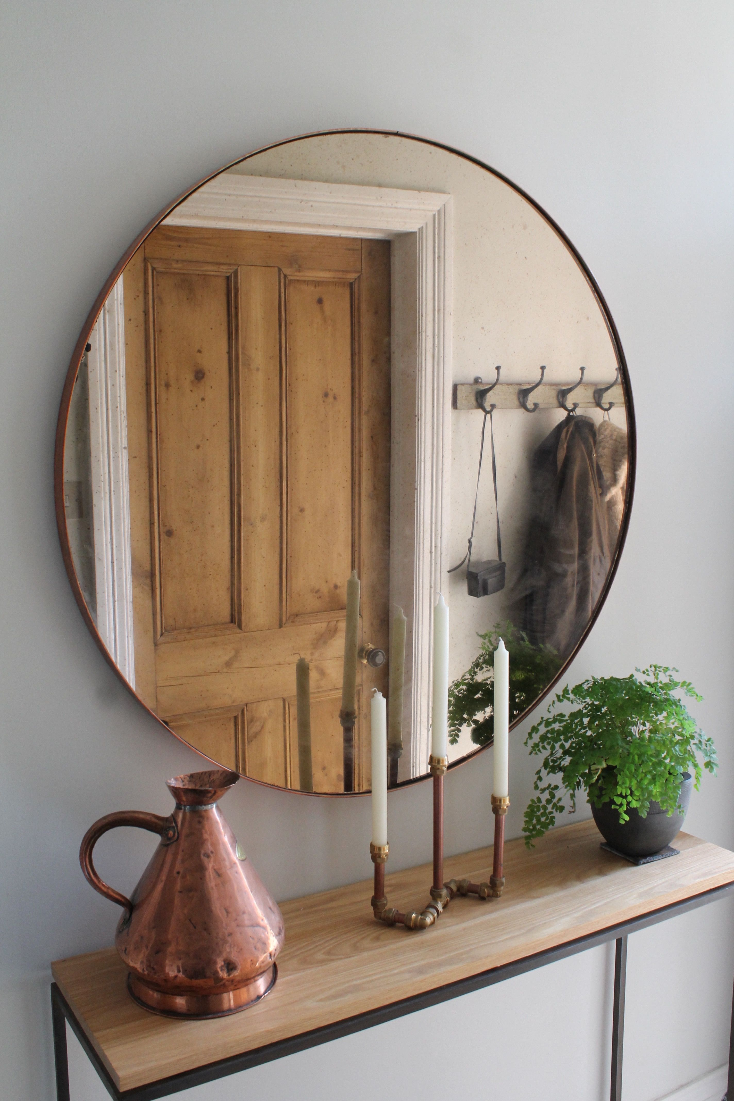 Hallway Furniture, Copper Mirror Over Steel And Oak Console Table for Natural Wood Mirrored Media Console Tables (Image 15 of 30)