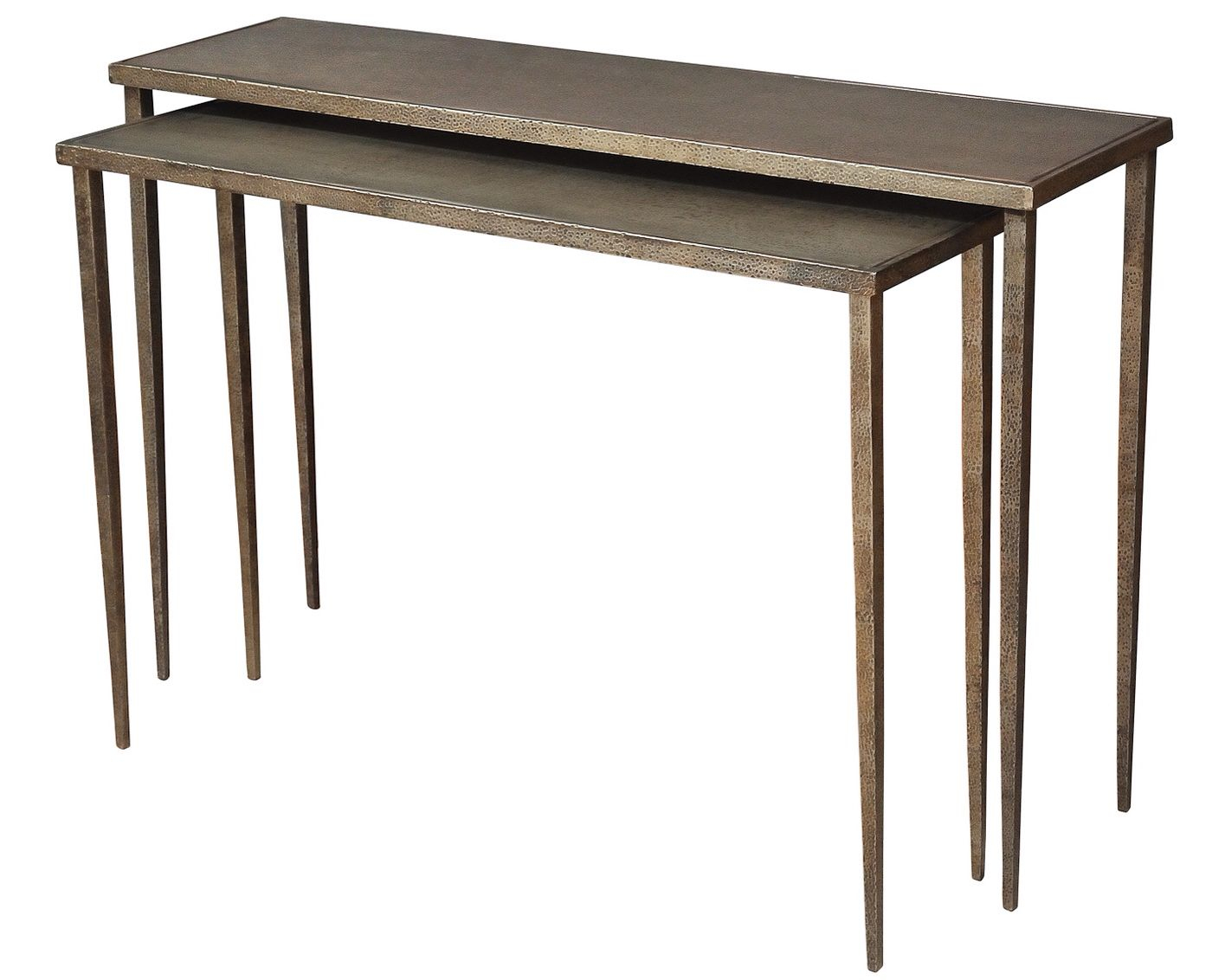 Hammered Sheet Metal Console Tables | My Designs | Pinterest With Parsons Walnut Top & Dark Steel Base 48x16 Console Tables (View 2 of 30)