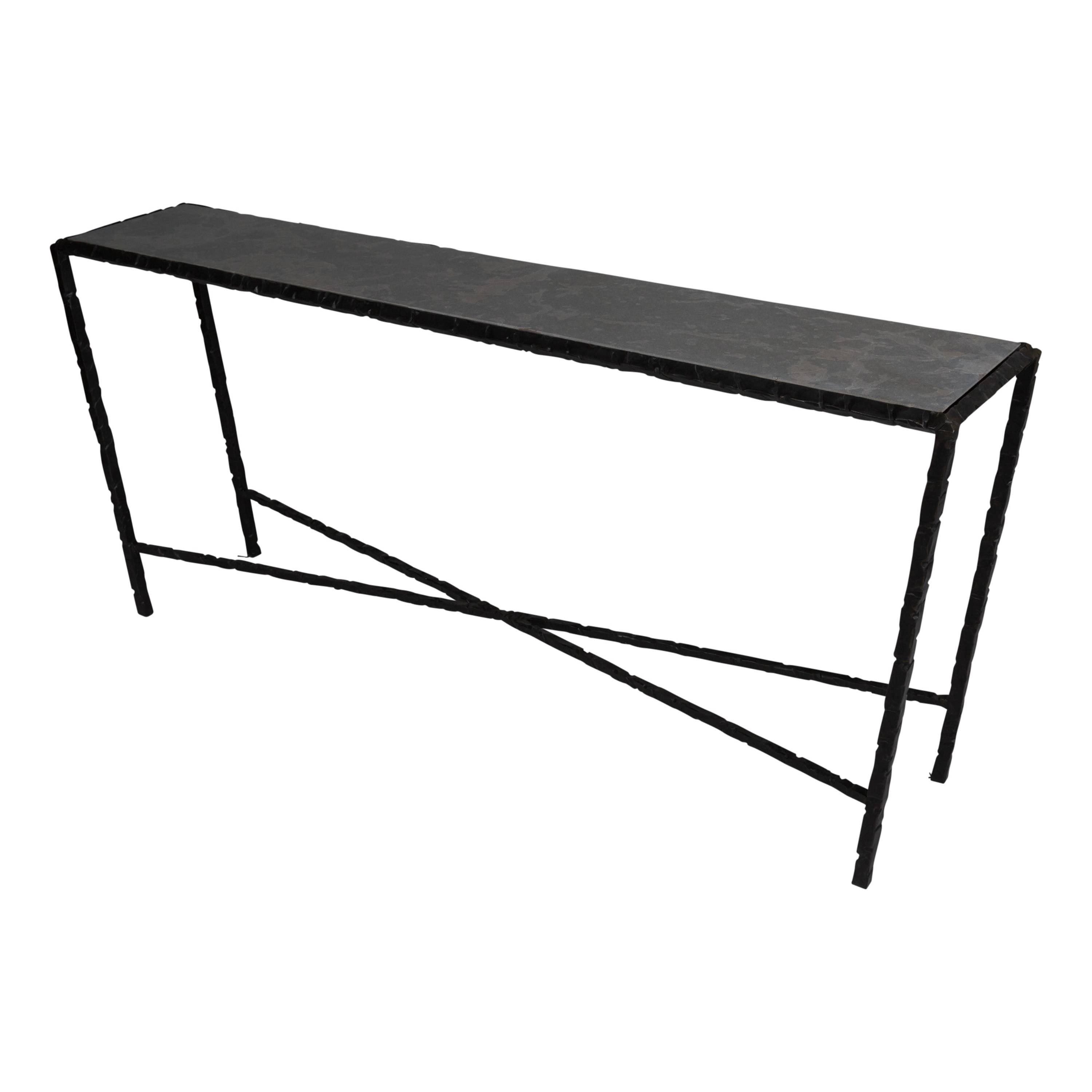 Hammered Steel Console Table, Bronze Patina For Sale At 1stdibs Throughout Mix Patina Metal Frame Console Tables (View 22 of 30)