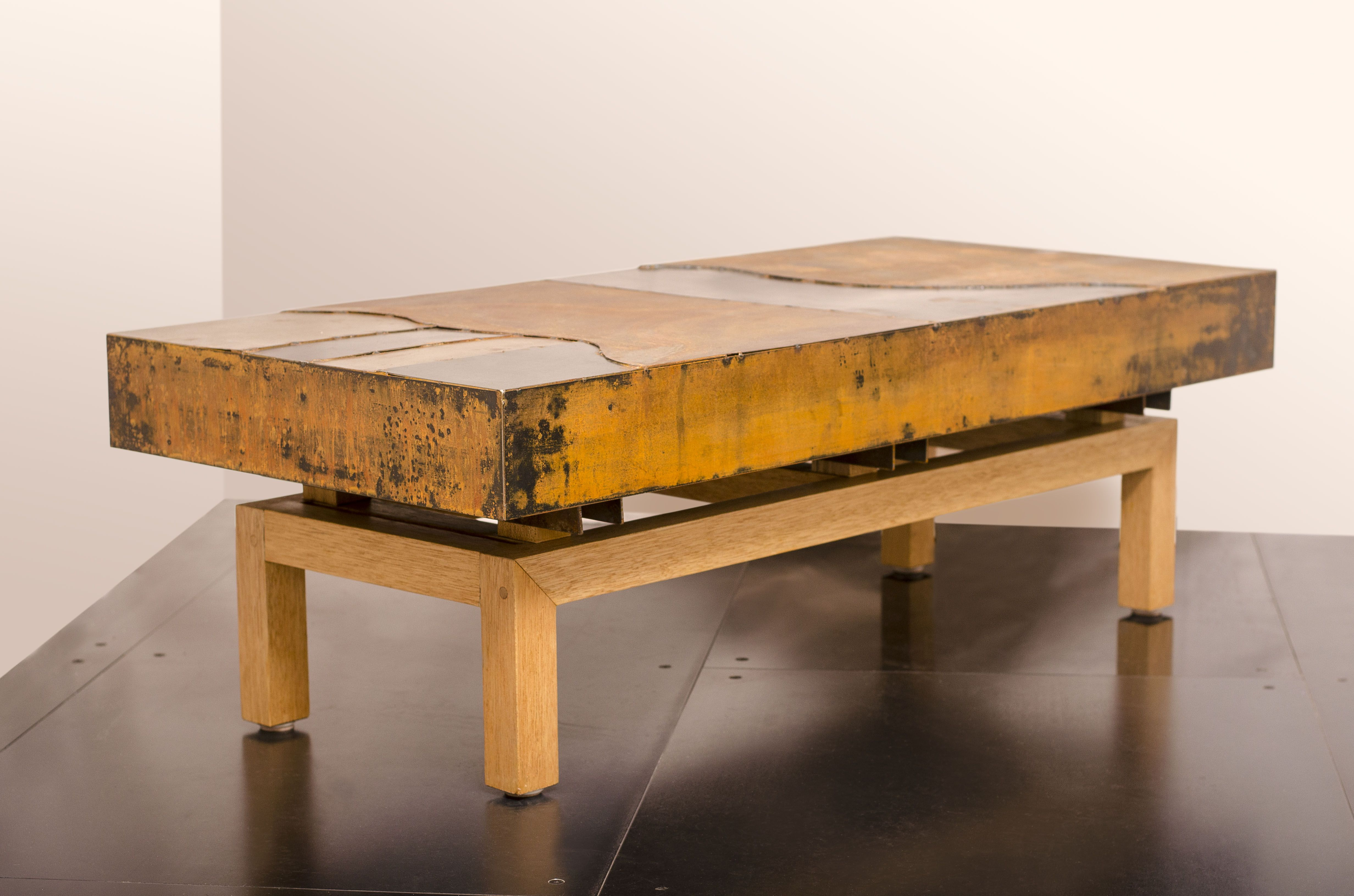 Hand Crafted Industrial Steel Coffee Table | Metal Mix Graft, Wood Intended For Mix Patina Metal Frame Console Tables (View 27 of 30)