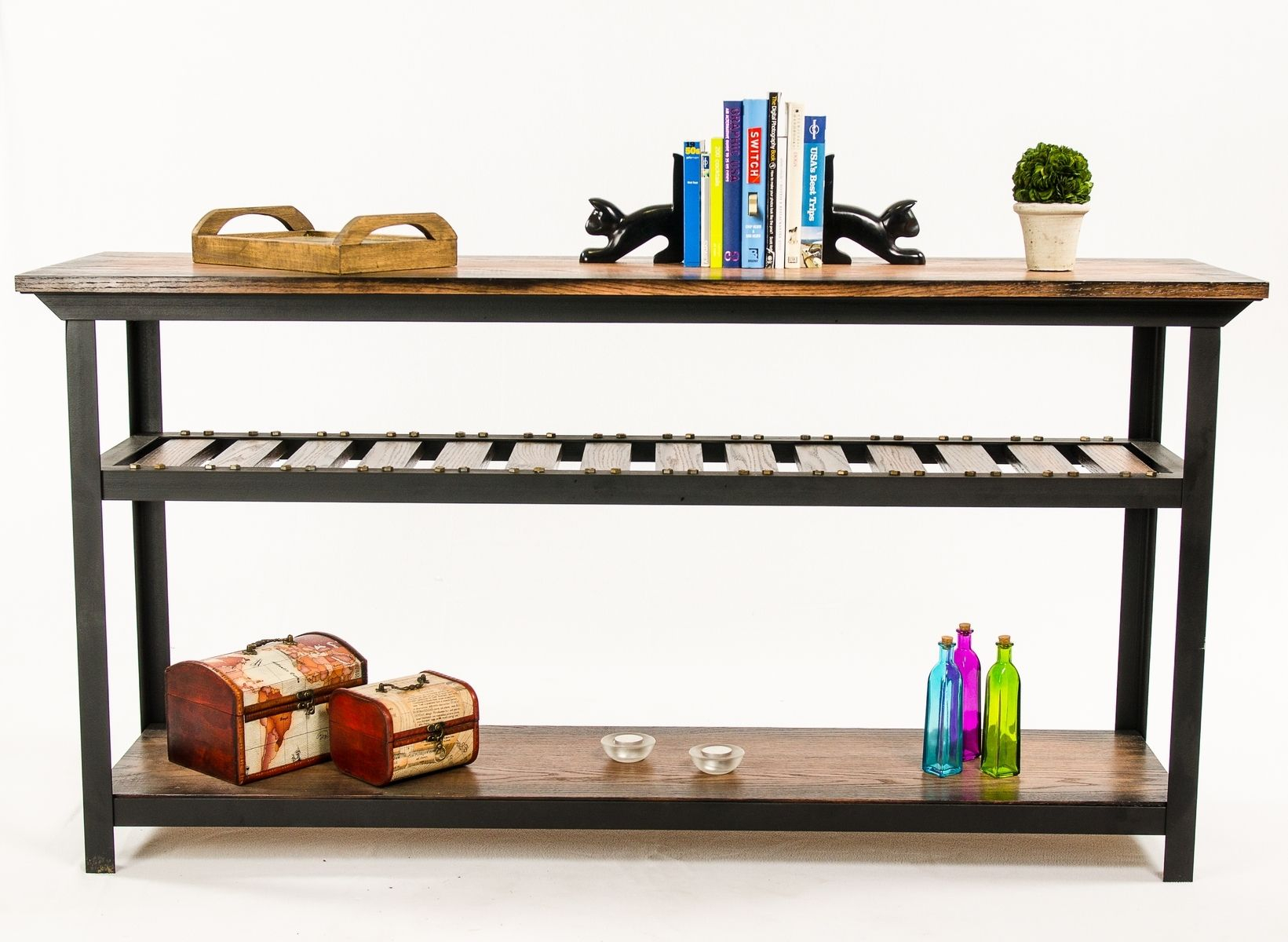 Hand Crafted Vintage Industrial Style Console Table/ Entertainment In Switch Console Tables (View 3 of 30)