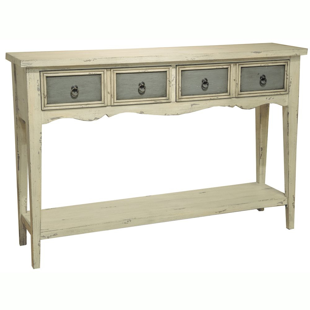 Hand Painted Distressed Antique White Finish Accent Console Table Intended For Antique White Distressed Console Tables (View 2 of 30)