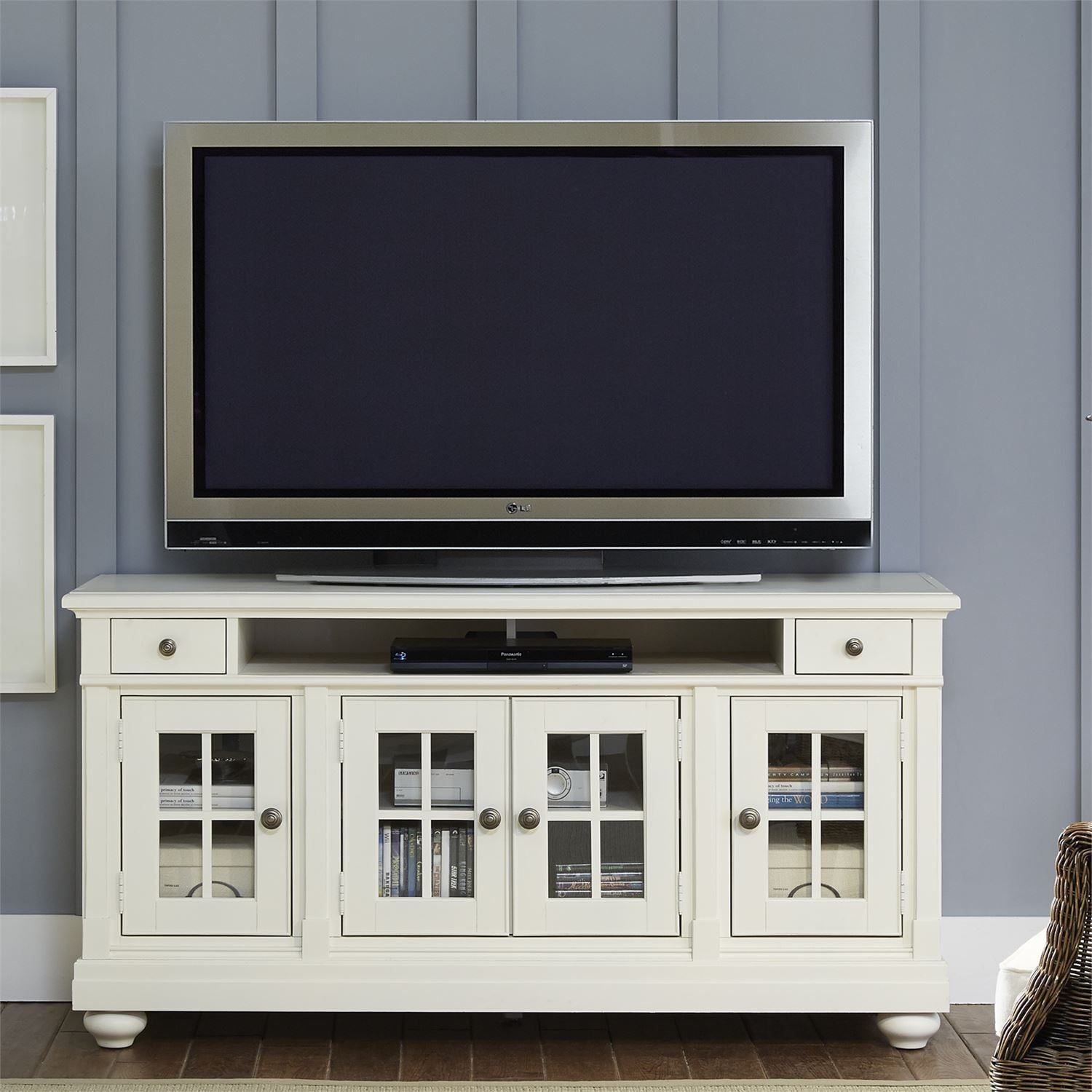 """Harbor View Linen Entertainment Wall Unit With 62"""" Tv Console From Regarding Abbott Driftwood 60 Inch Tv Stands (View 9 of 30)"""