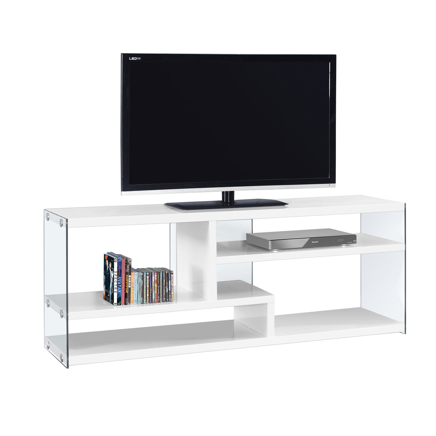 Hawthorne Ave Tv Stand 60l / Glossy White With Tempered Glass I 2690 Regarding Noah 75 Inch Tv Stands (View 10 of 30)