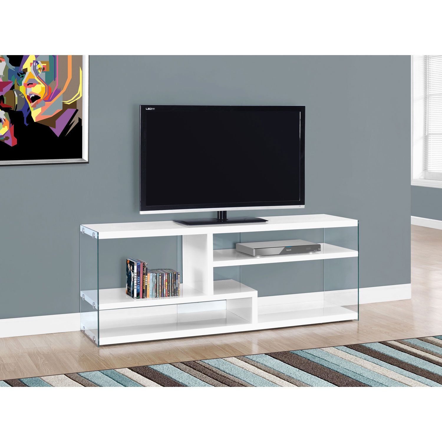 Hawthorne Ave Tv Stand 60l / Glossy White With Tempered Glass I 2690 Within Noah 75 Inch Tv Stands (View 9 of 30)